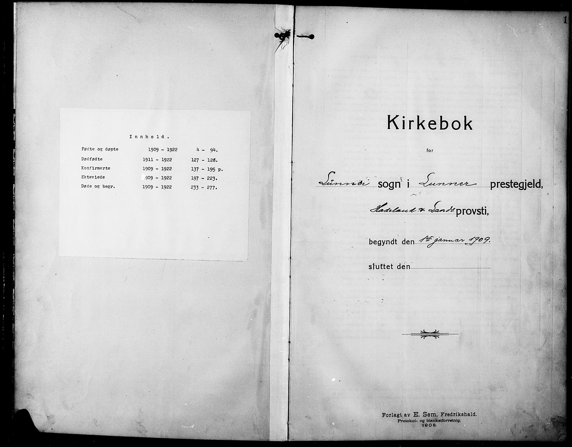 SAH, Lunner prestekontor, H/Ha/Hab/L0001: Klokkerbok nr. 1, 1909-1922, s. 1