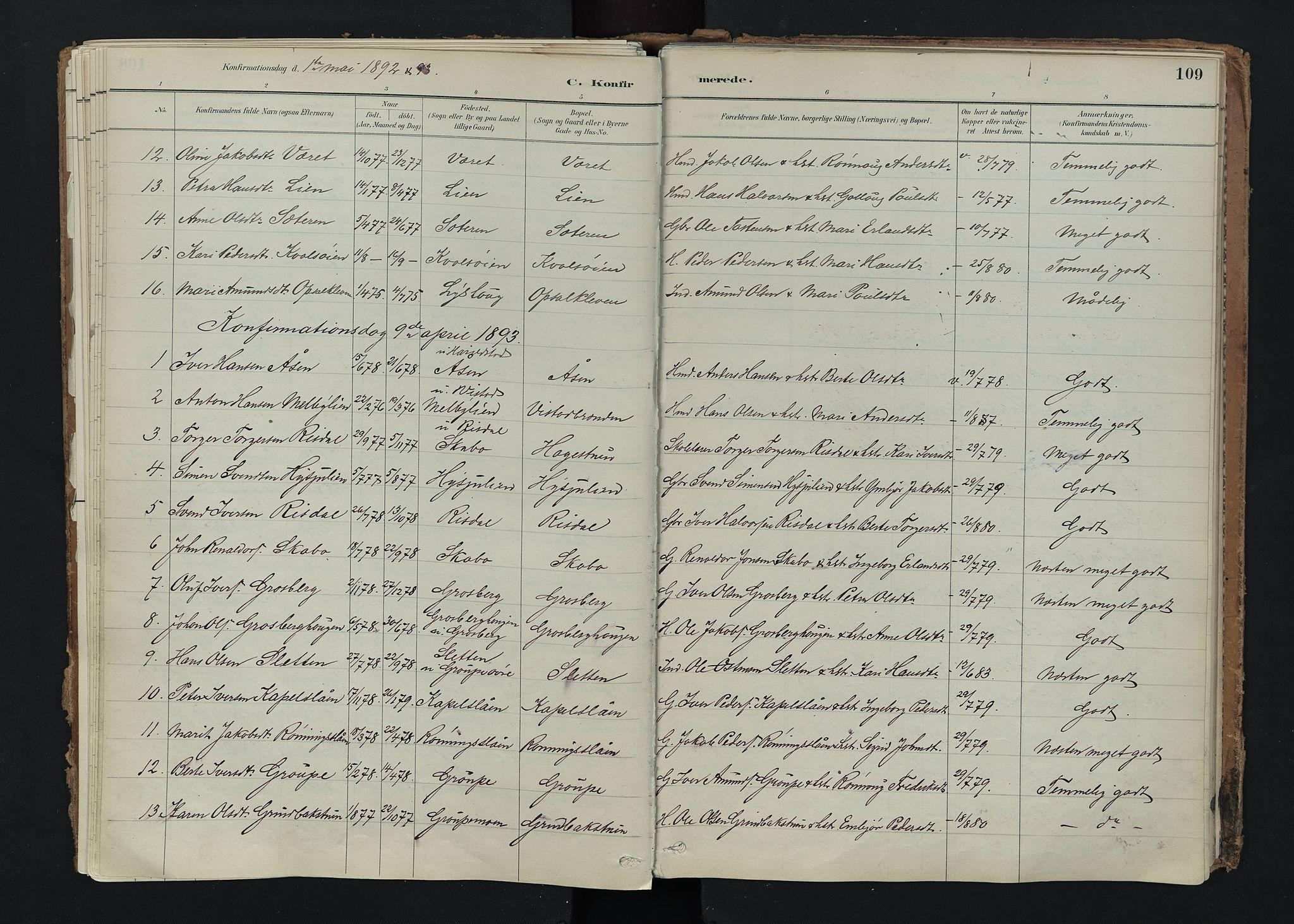 SAH, Nord-Fron prestekontor, Ministerialbok nr. 5, 1884-1914, s. 109