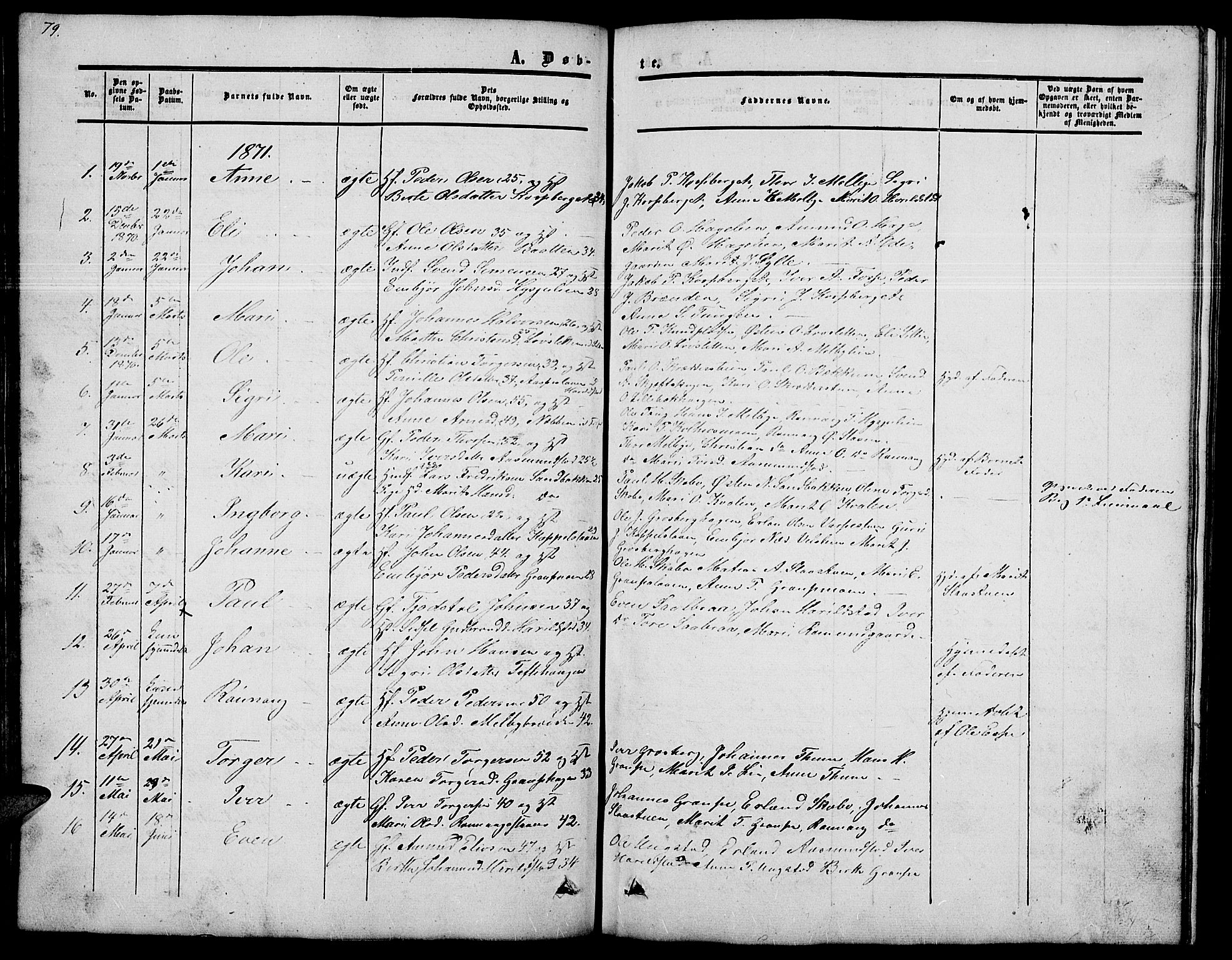 SAH, Nord-Fron prestekontor, Klokkerbok nr. 2, 1851-1883, s. 79
