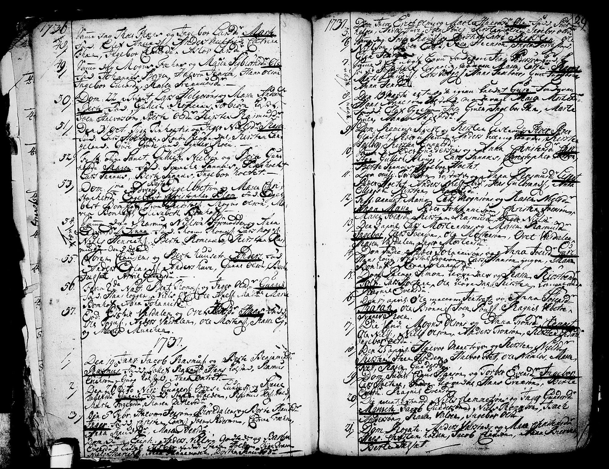 SAKO, Holla kirkebøker, F/Fa/L0001: Ministerialbok nr. 1, 1717-1779, s. 29