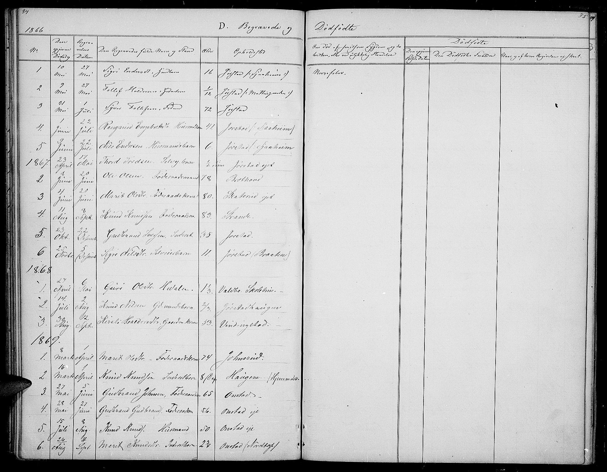 SAH, Øystre Slidre prestekontor, Klokkerbok nr. 2, 1866-1886, s. 84-85