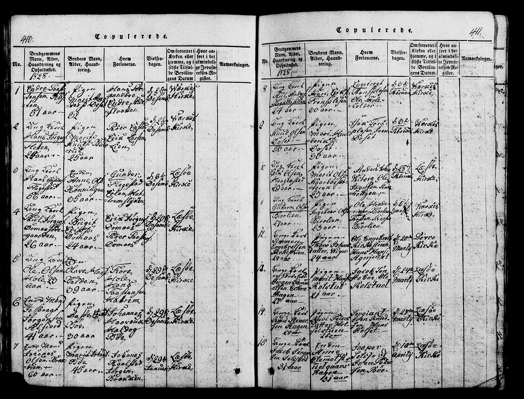 SAH, Lesja prestekontor, Klokkerbok nr. 1, 1820-1831, s. 410-411