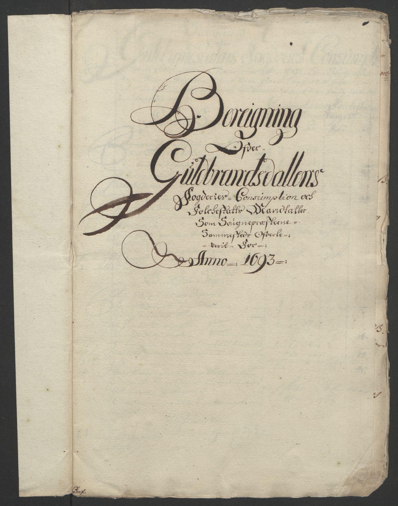 RA, Rentekammeret inntil 1814, Reviderte regnskaper, Fogderegnskap, R17/L1167: Fogderegnskap Gudbrandsdal, 1693, s. 319
