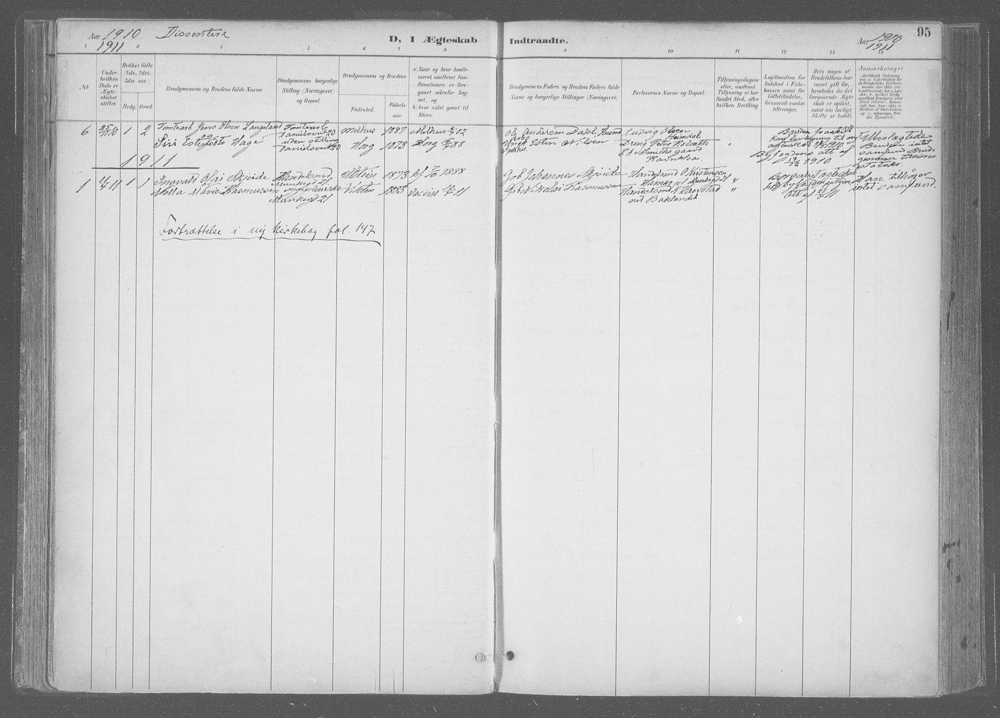 SAT, Ministerialprotokoller, klokkerbøker og fødselsregistre - Sør-Trøndelag, 601/L0064: Ministerialbok nr. 601A31, 1891-1911, s. 95