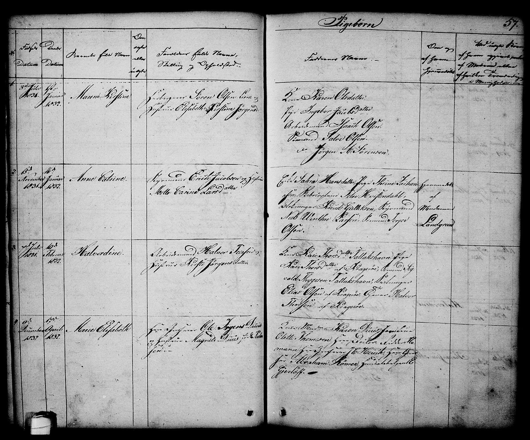 SAKO, Kragerø kirkebøker, G/Ga/L0003: Klokkerbok nr. 3, 1832-1852, s. 57