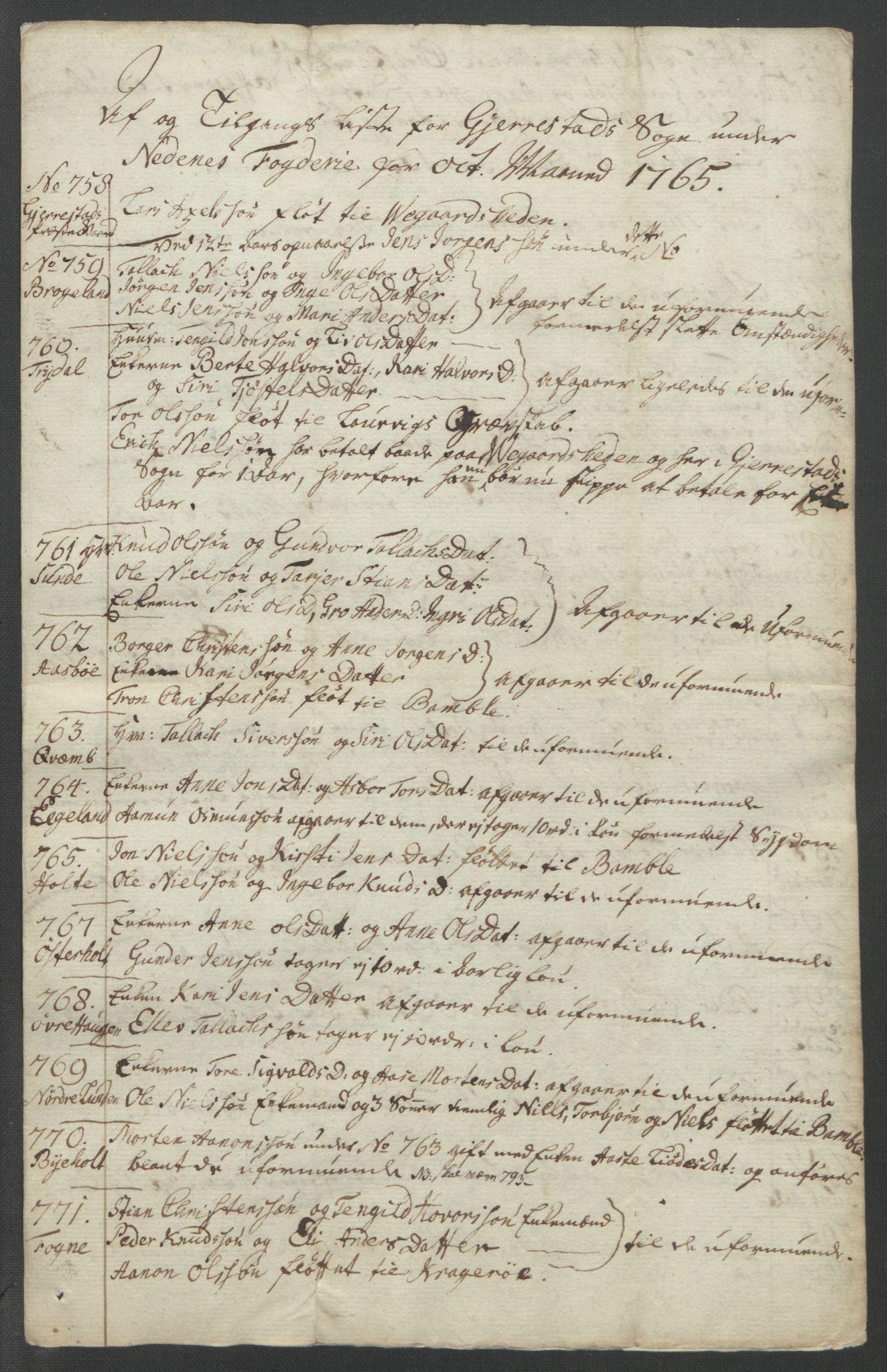 RA, Rentekammeret inntil 1814, Reviderte regnskaper, Fogderegnskap, R39/L2424: Ekstraskatten Nedenes, 1762-1767, s. 170