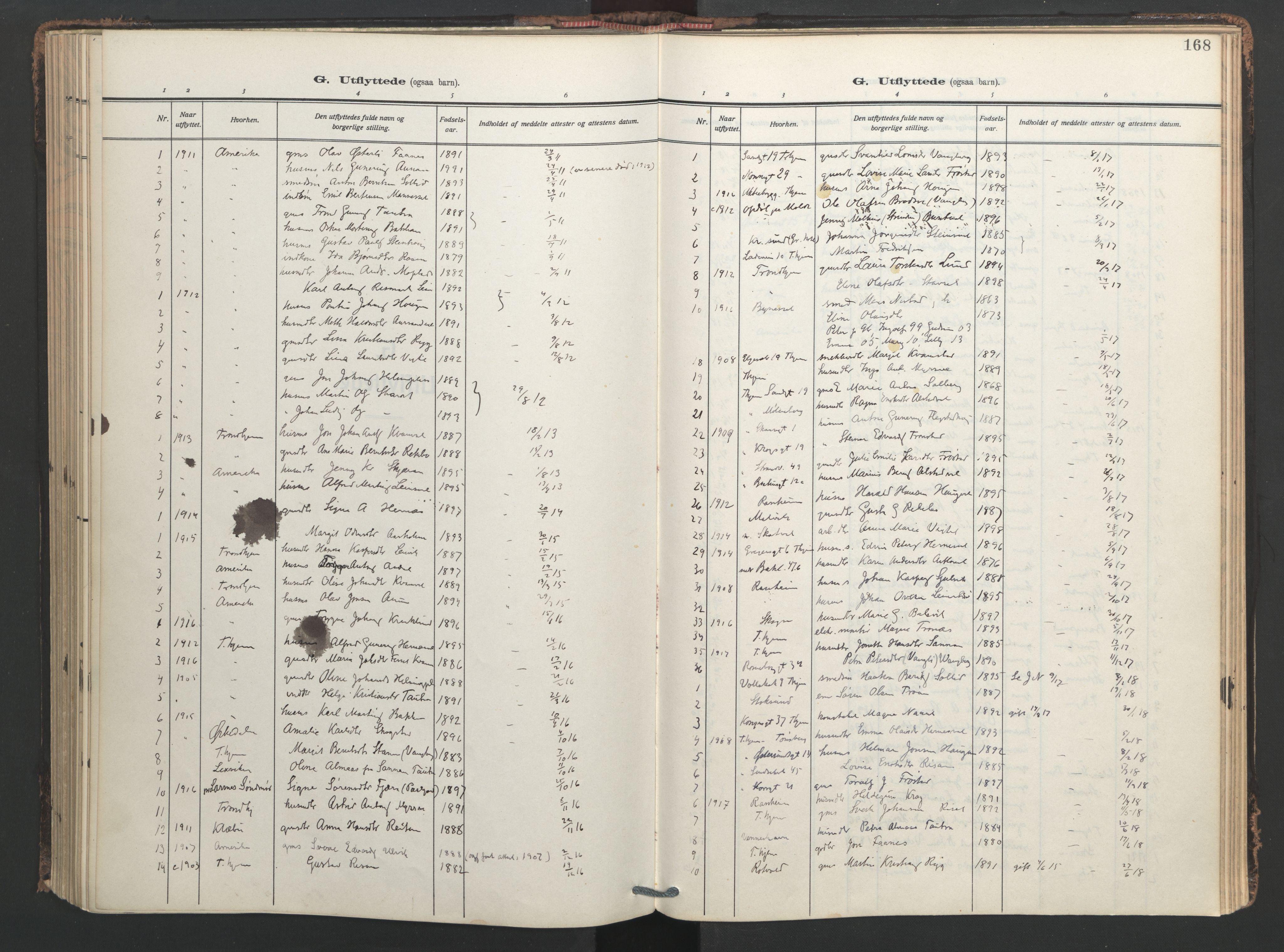 SAT, Ministerialprotokoller, klokkerbøker og fødselsregistre - Nord-Trøndelag, 713/L0123: Ministerialbok nr. 713A12, 1911-1925, s. 168