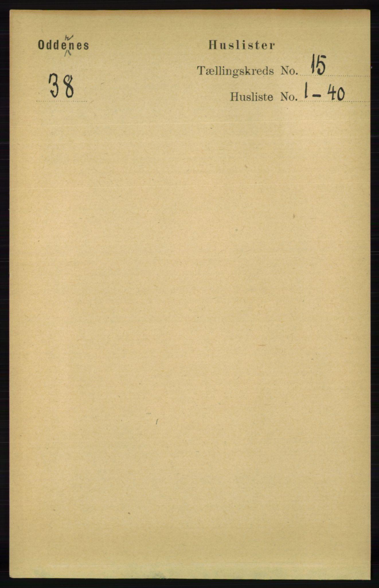 RA, Folketelling 1891 for 1012 Oddernes herred, 1891, s. 5009