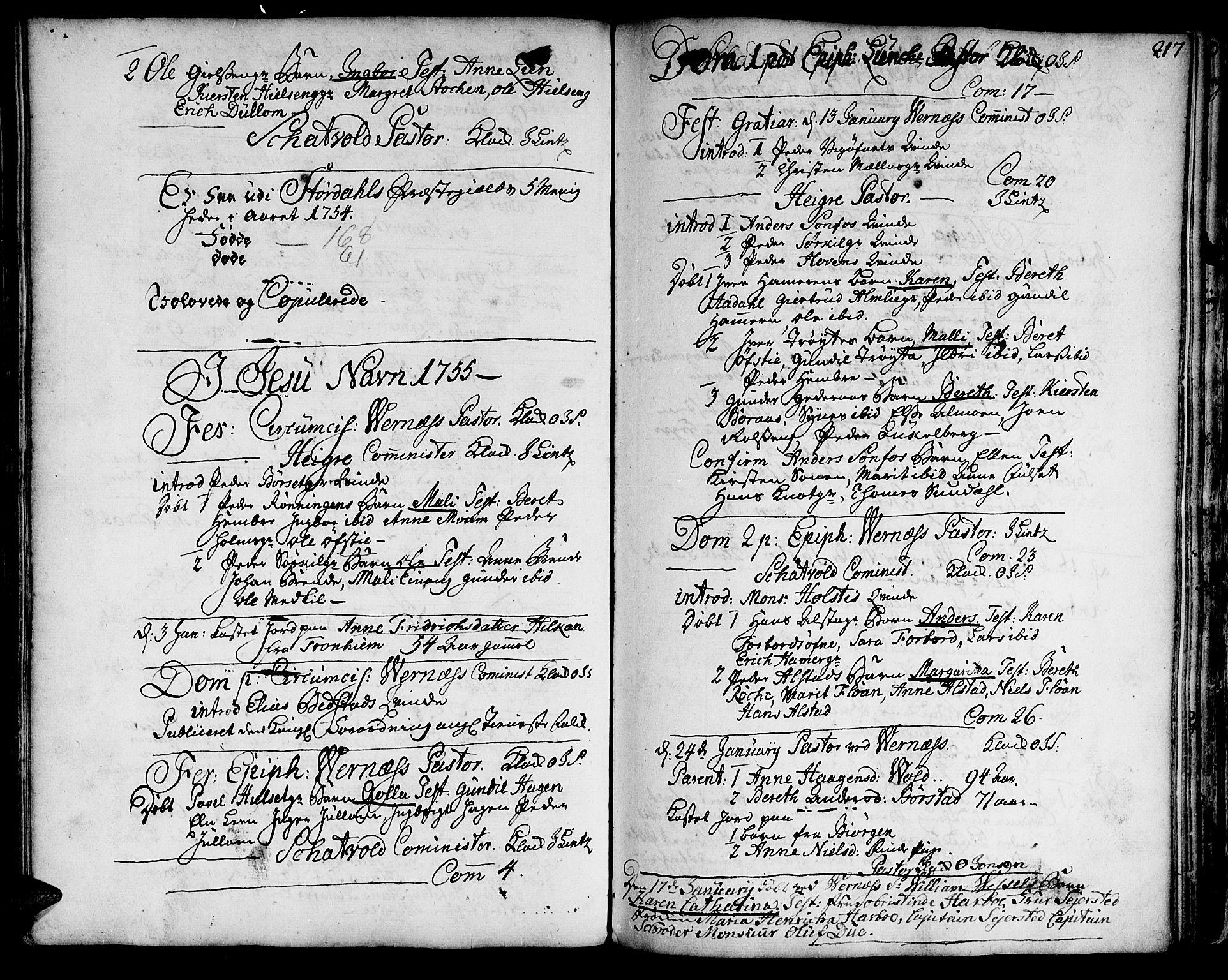 SAT, Ministerialprotokoller, klokkerbøker og fødselsregistre - Nord-Trøndelag, 709/L0056: Ministerialbok nr. 709A04, 1740-1756, s. 217