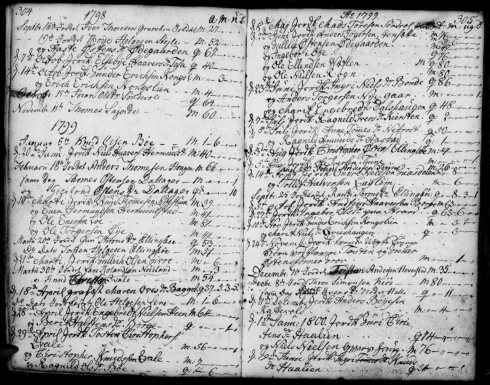 SAH, Vang prestekontor, Valdres, Ministerialbok nr. 2, 1796-1808, s. 304-305