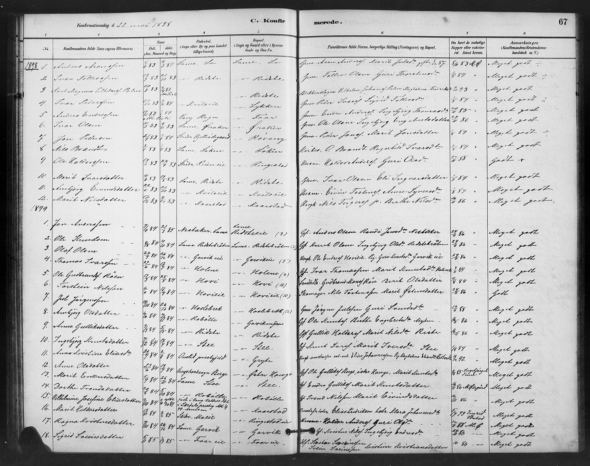SAH, Vestre Slidre prestekontor, Klokkerbok nr. 6, 1881-1915, s. 67