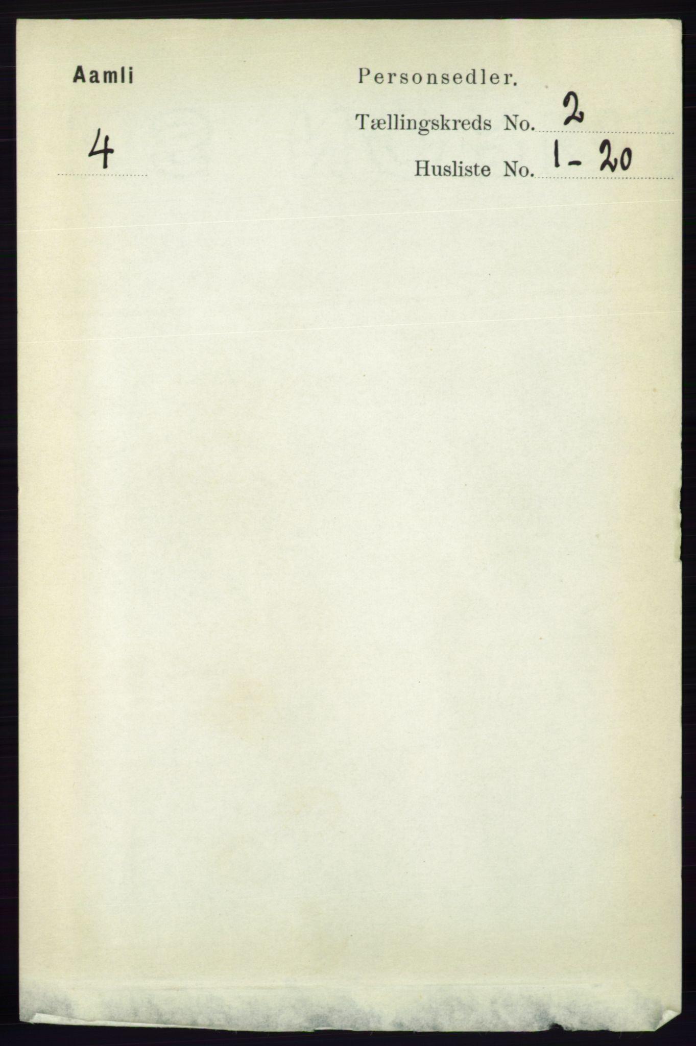 RA, Folketelling 1891 for 0929 Åmli herred, 1891, s. 169