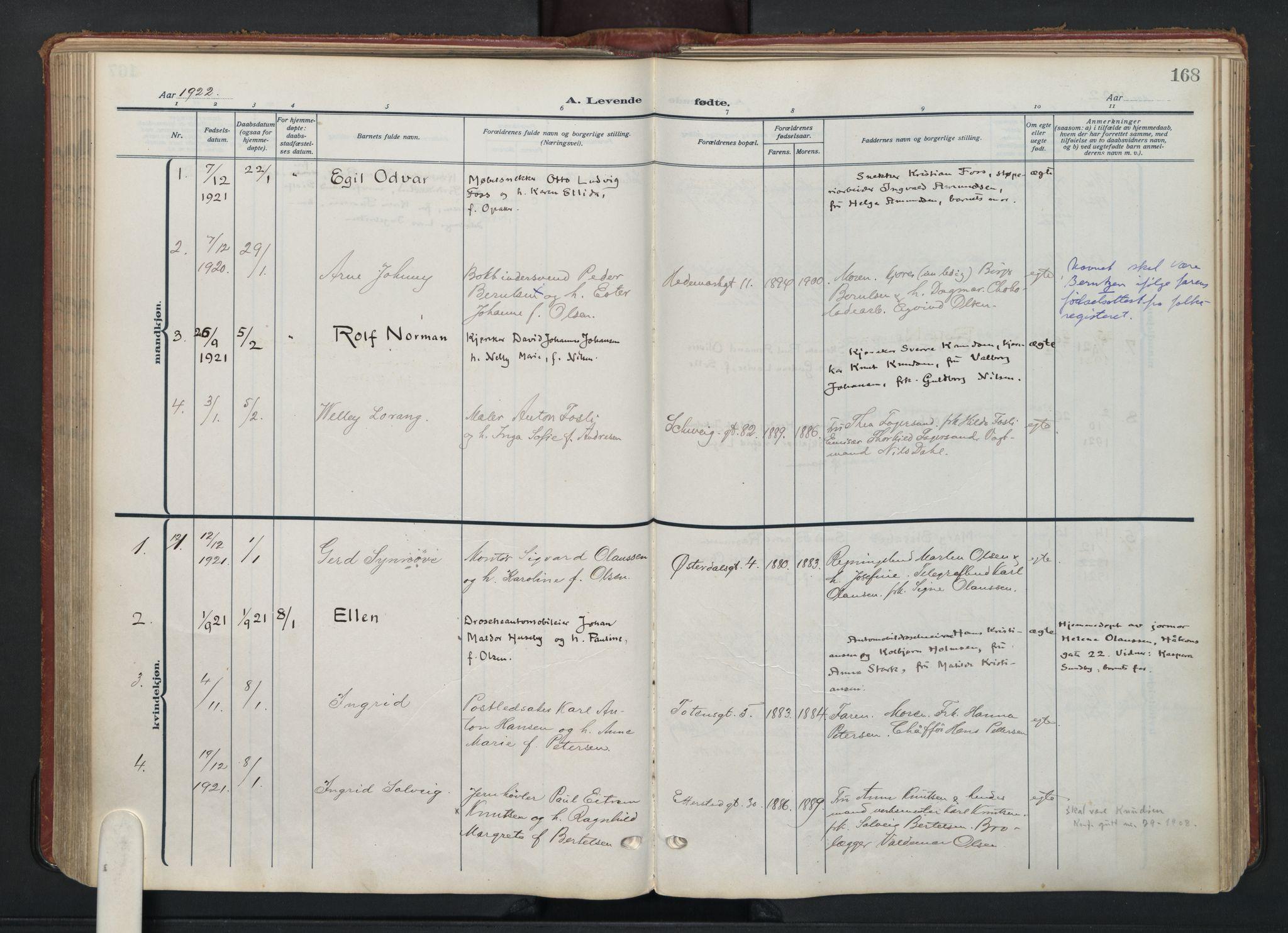SAO, Vålerengen prestekontor Kirkebøker, F/Fa/L0004: Ministerialbok nr. 4, 1915-1929, s. 168