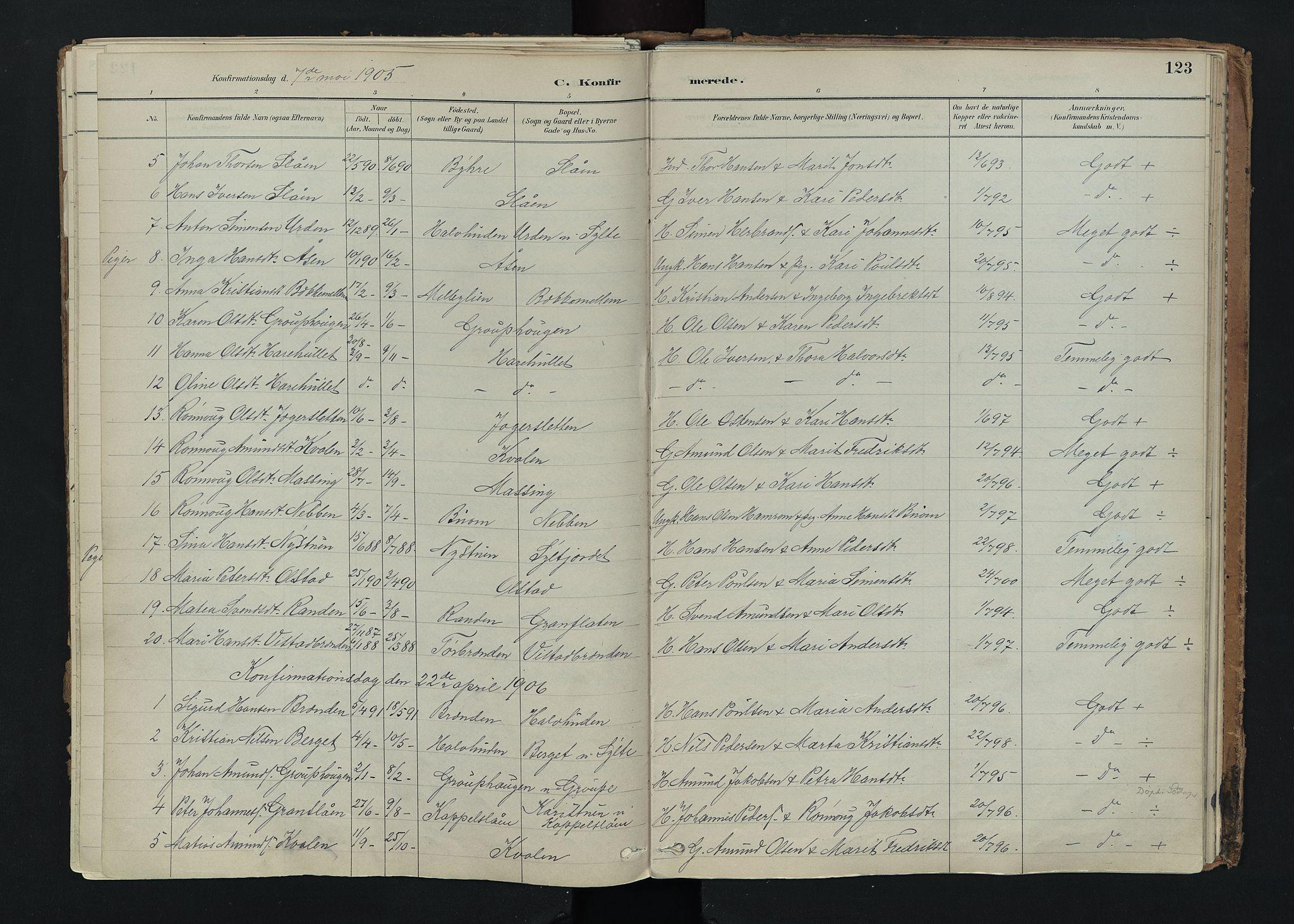 SAH, Nord-Fron prestekontor, Ministerialbok nr. 5, 1884-1914, s. 123