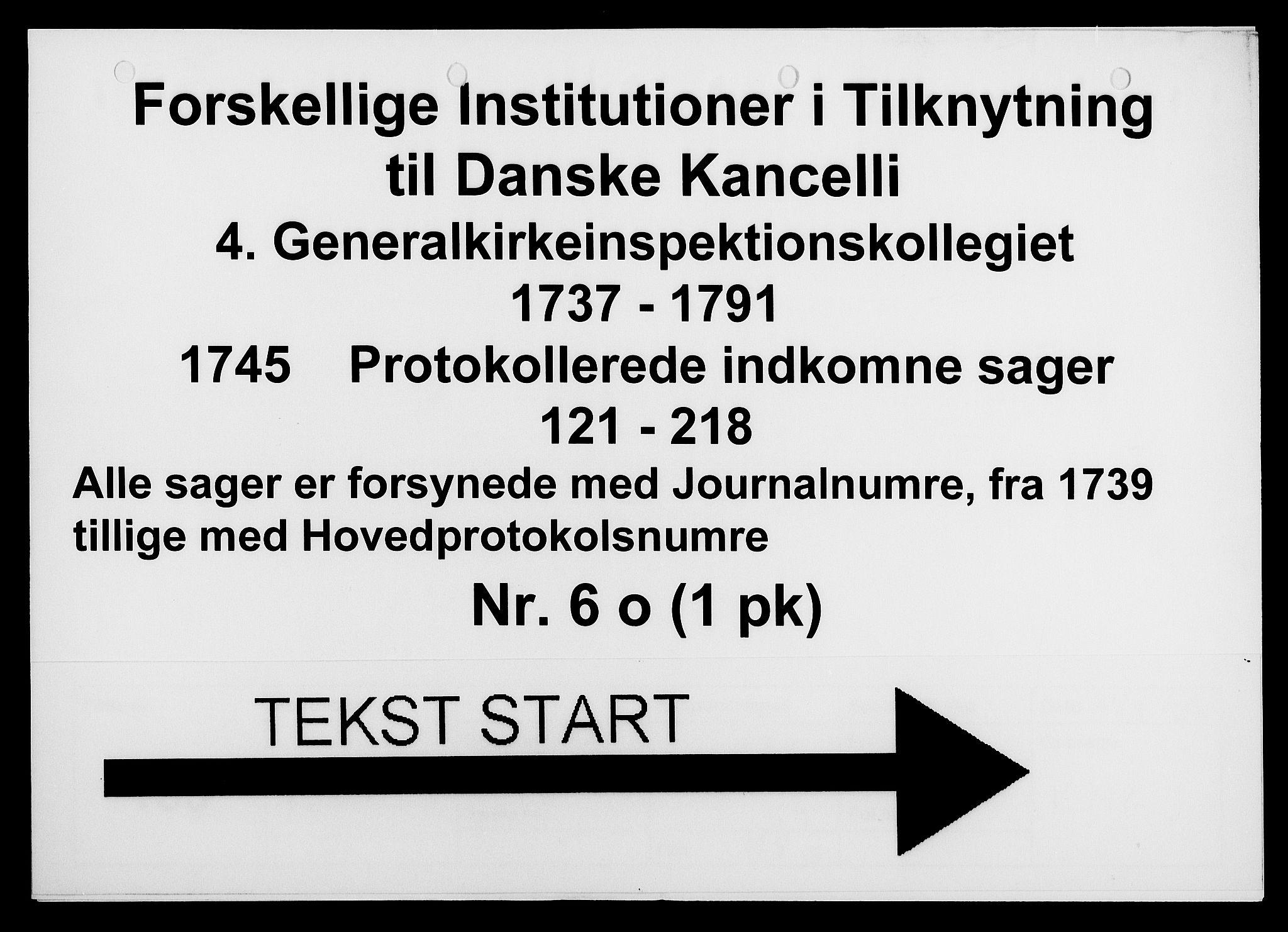 DRA, Generalkirkeinspektionskollegiet, F4-06/F4-06-15: Protokollerede indkomne sager, 1745