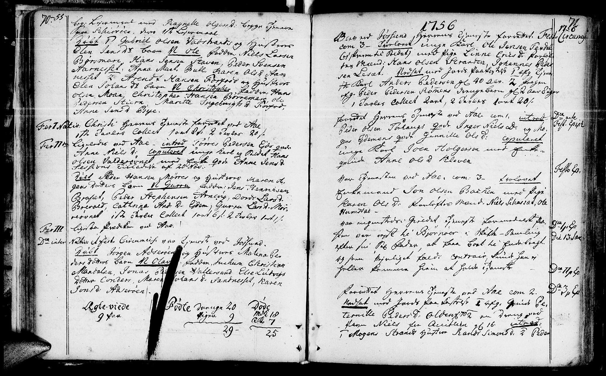 SAT, Ministerialprotokoller, klokkerbøker og fødselsregistre - Sør-Trøndelag, 655/L0672: Ministerialbok nr. 655A01, 1750-1779, s. 70-71