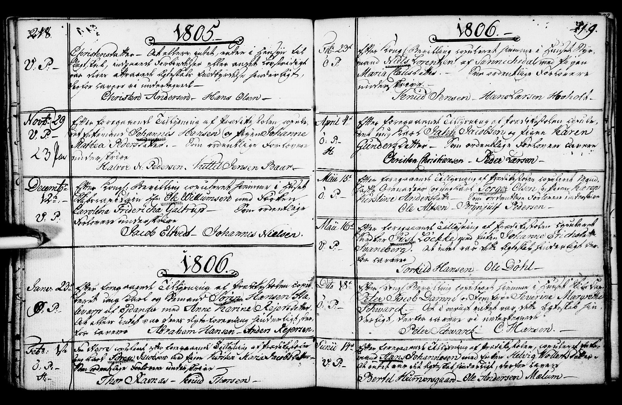 SAKO, Porsgrunn kirkebøker , F/Fa/L0003: Ministerialbok nr. 3, 1764-1814, s. 218-219