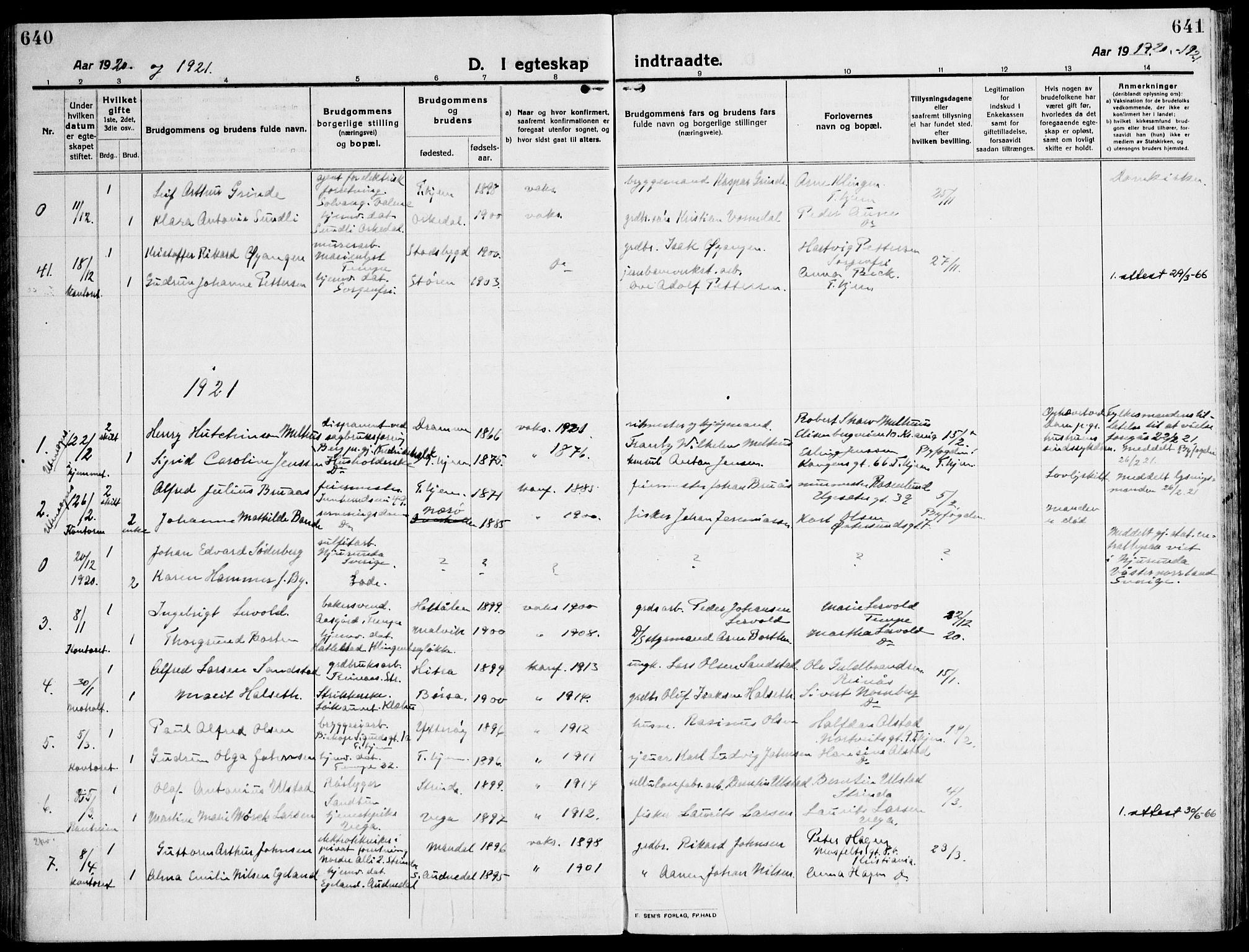 SAT, Ministerialprotokoller, klokkerbøker og fødselsregistre - Sør-Trøndelag, 607/L0321: Ministerialbok nr. 607A05, 1916-1935, s. 640-641