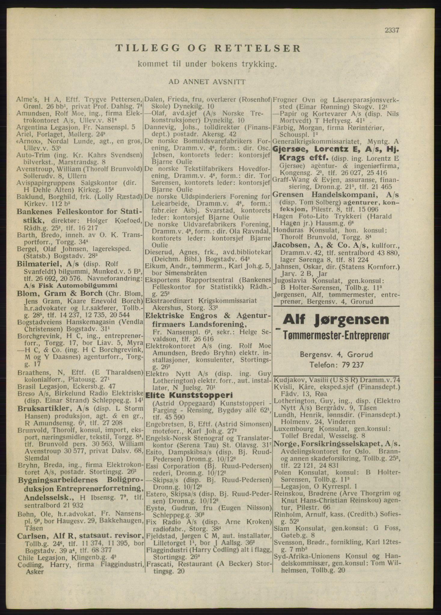 RA, Oslo adressebok (publikasjon)*, 1946, s. 2337