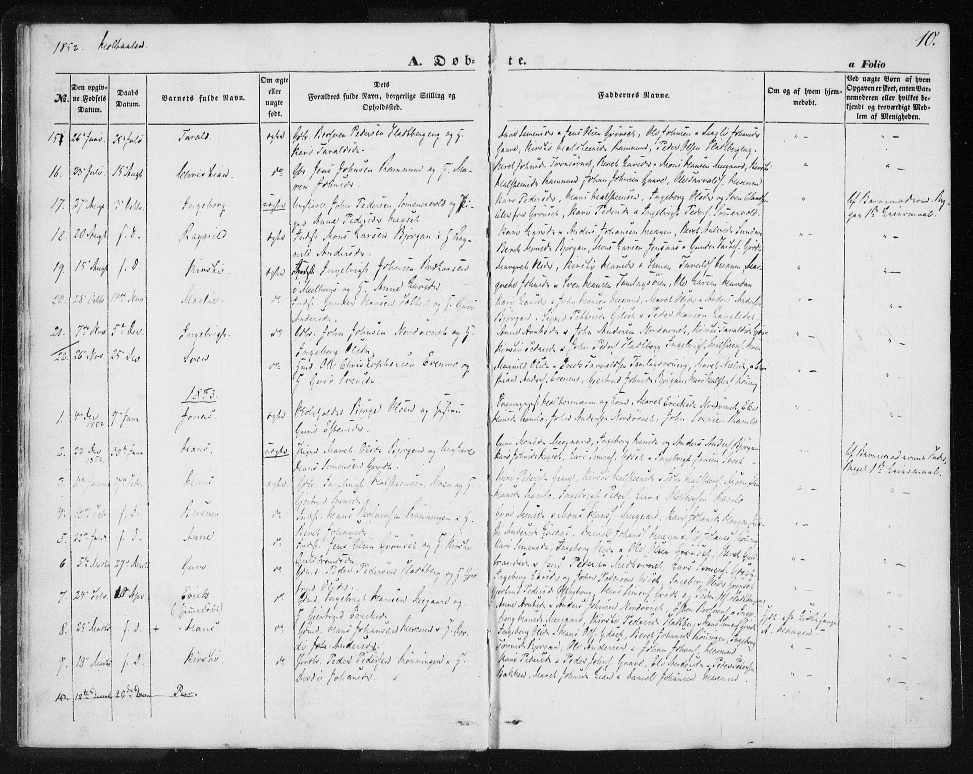 SAT, Ministerialprotokoller, klokkerbøker og fødselsregistre - Sør-Trøndelag, 685/L0963: Ministerialbok nr. 685A06 /1, 1846-1859, s. 10