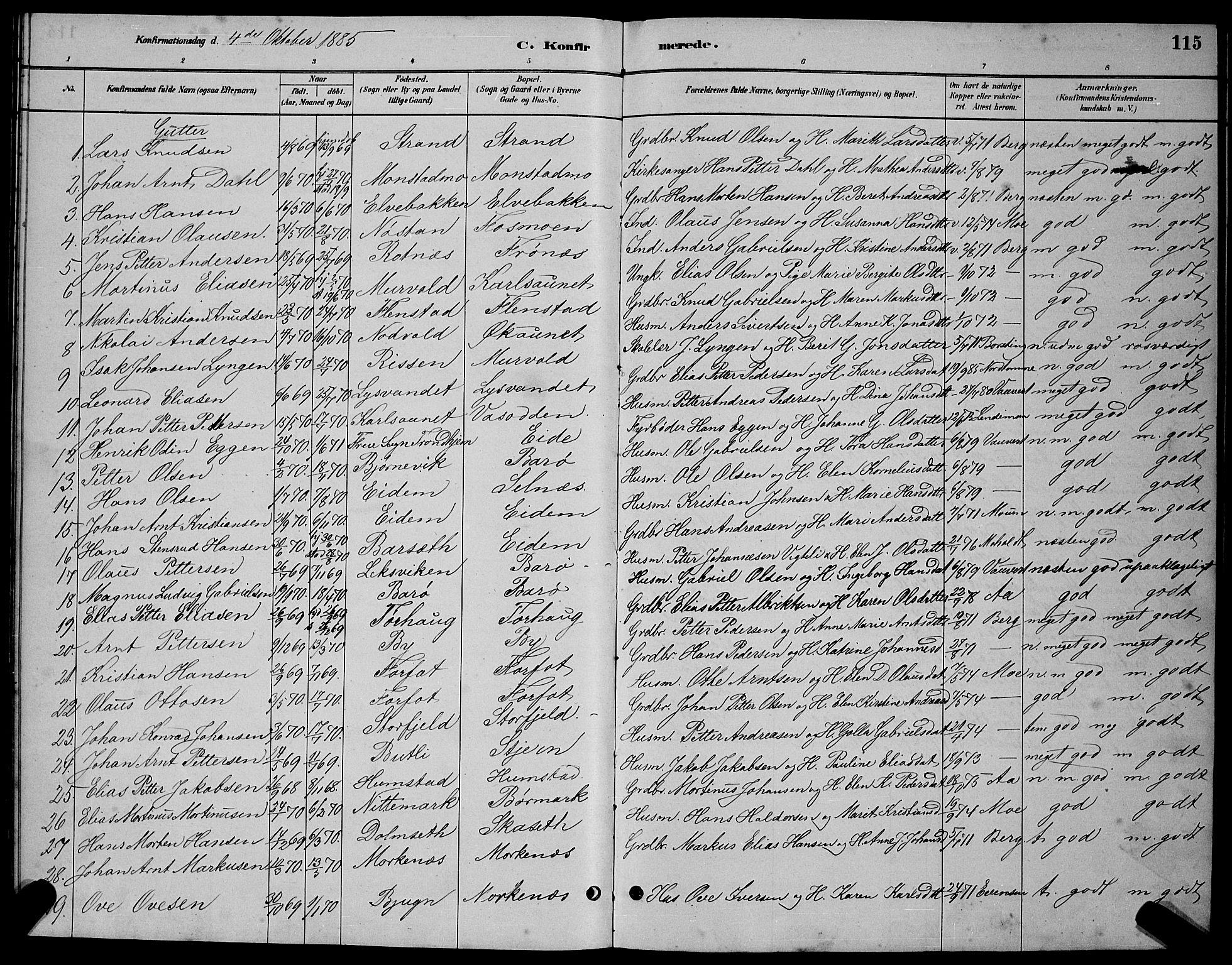 SAT, Ministerialprotokoller, klokkerbøker og fødselsregistre - Sør-Trøndelag, 655/L0687: Klokkerbok nr. 655C03, 1880-1898, s. 115