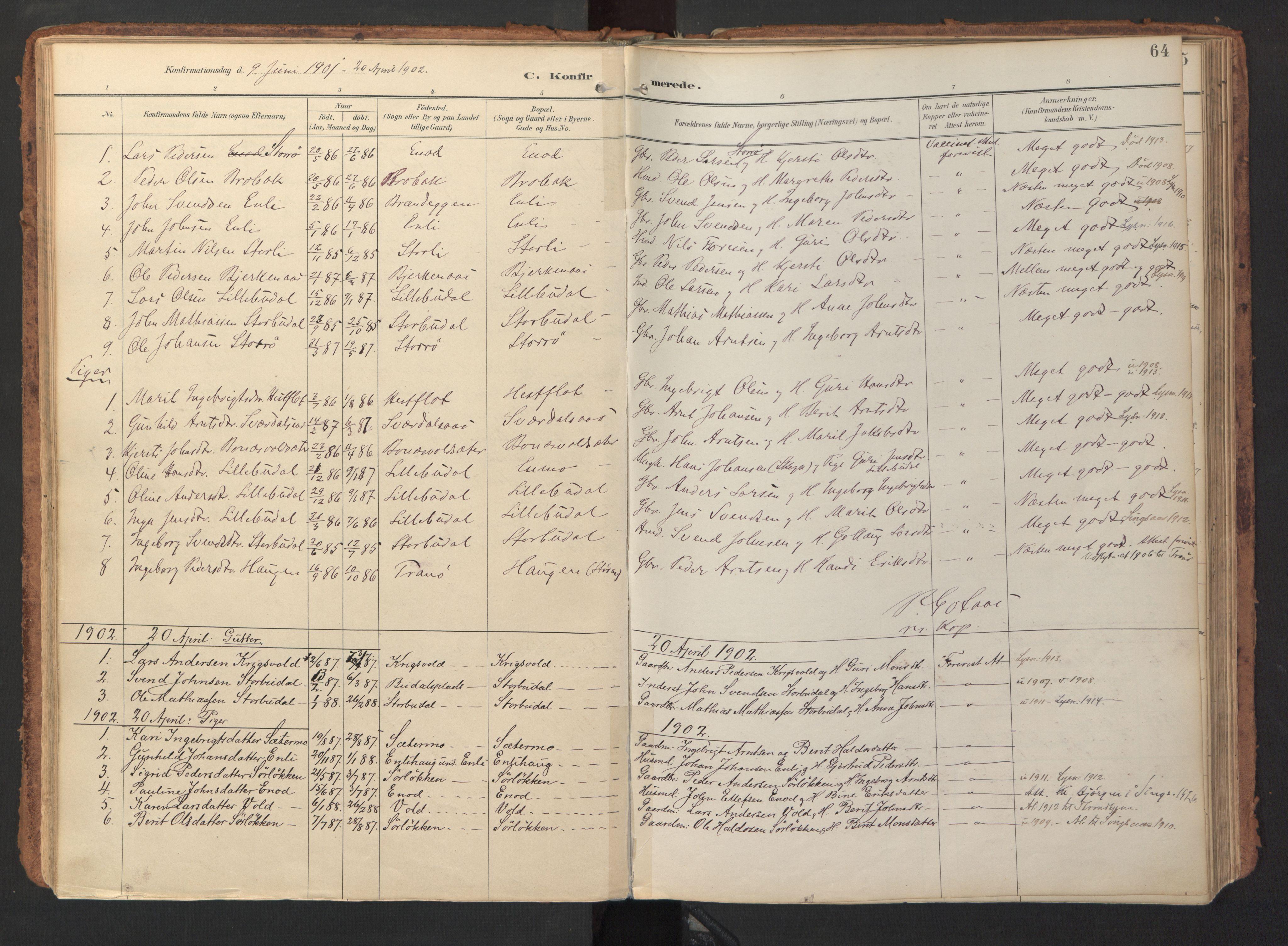 SAT, Ministerialprotokoller, klokkerbøker og fødselsregistre - Sør-Trøndelag, 690/L1050: Ministerialbok nr. 690A01, 1889-1929, s. 64