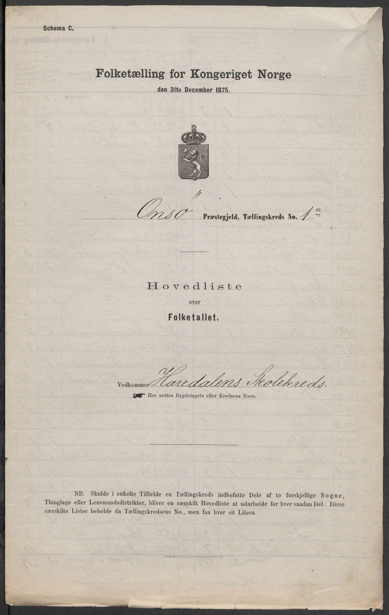 RA, Folketelling 1875 for 0134P Onsøy prestegjeld, 1875, s. 1