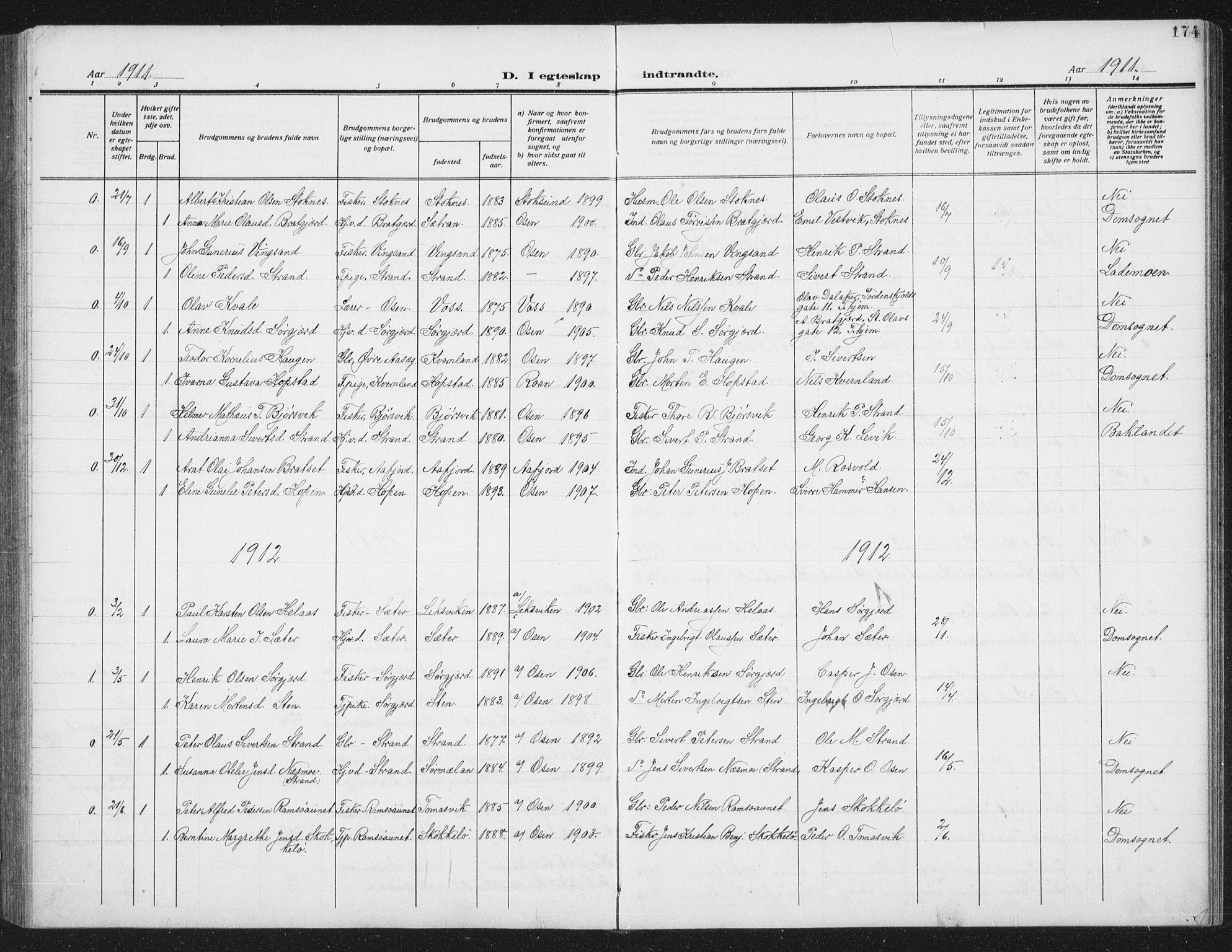 SAT, Ministerialprotokoller, klokkerbøker og fødselsregistre - Sør-Trøndelag, 658/L0727: Klokkerbok nr. 658C03, 1909-1935, s. 174