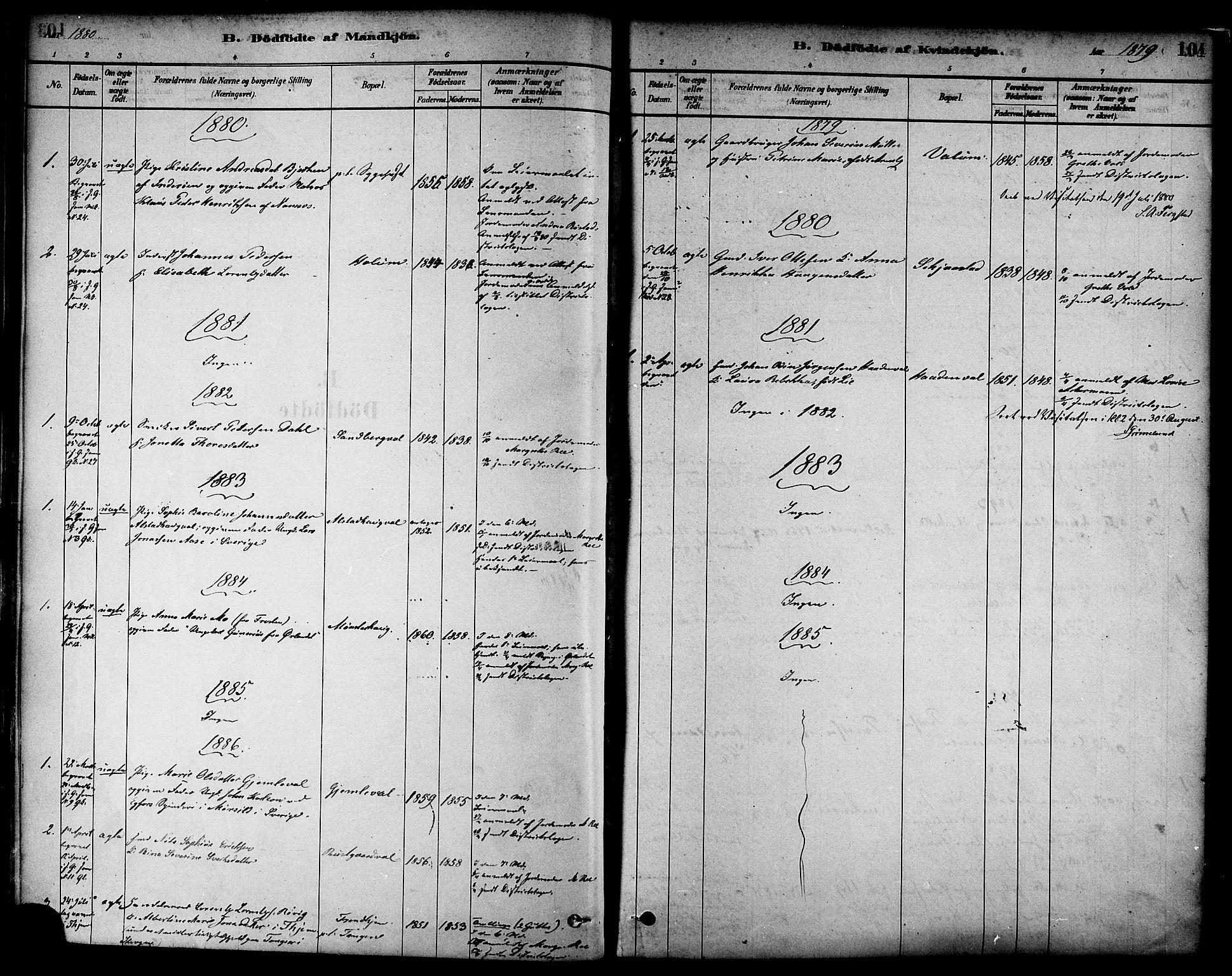 SAT, Ministerialprotokoller, klokkerbøker og fødselsregistre - Nord-Trøndelag, 717/L0159: Ministerialbok nr. 717A09, 1878-1898, s. 104