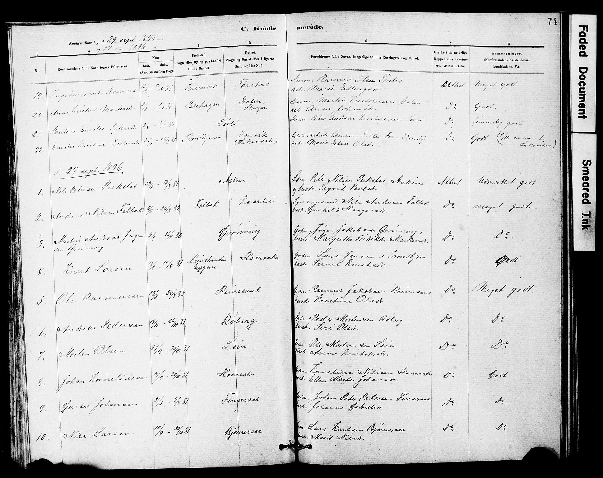 SAT, Ministerialprotokoller, klokkerbøker og fødselsregistre - Sør-Trøndelag, 646/L0628: Klokkerbok nr. 646C01, 1880-1903, s. 74