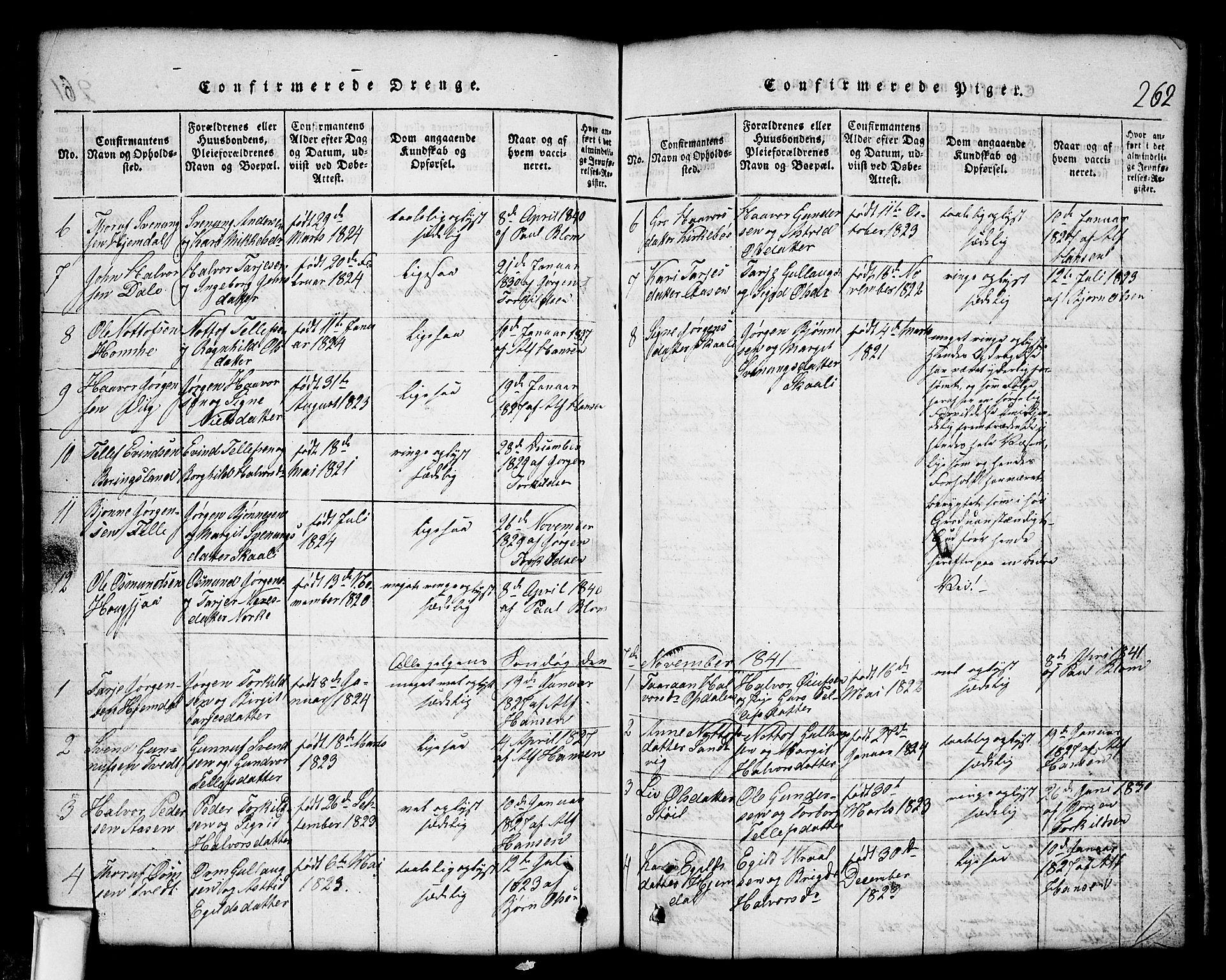 SAKO, Nissedal kirkebøker, G/Gb/L0001: Klokkerbok nr. II 1, 1814-1862, s. 262