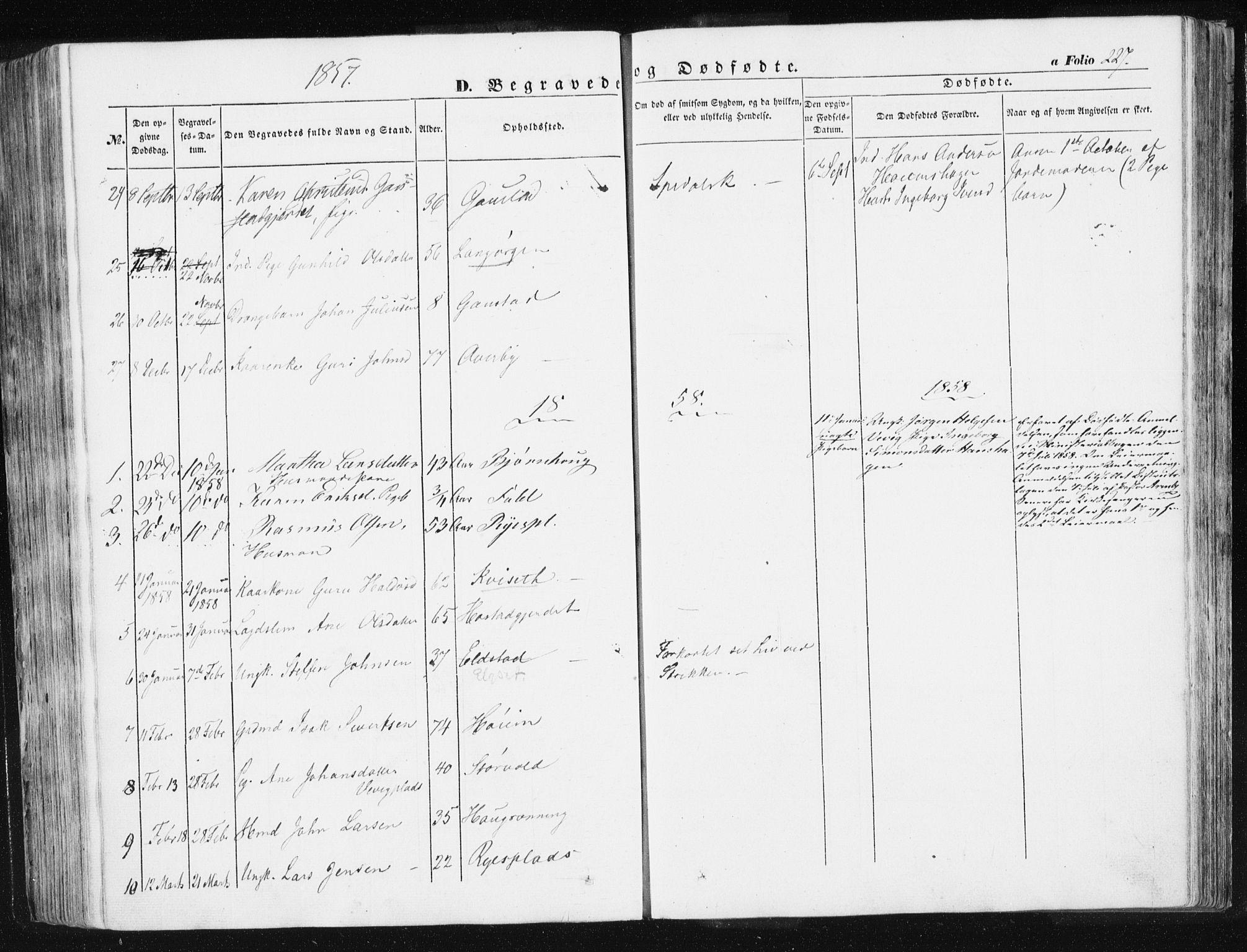 SAT, Ministerialprotokoller, klokkerbøker og fødselsregistre - Sør-Trøndelag, 612/L0376: Ministerialbok nr. 612A08, 1846-1859, s. 227