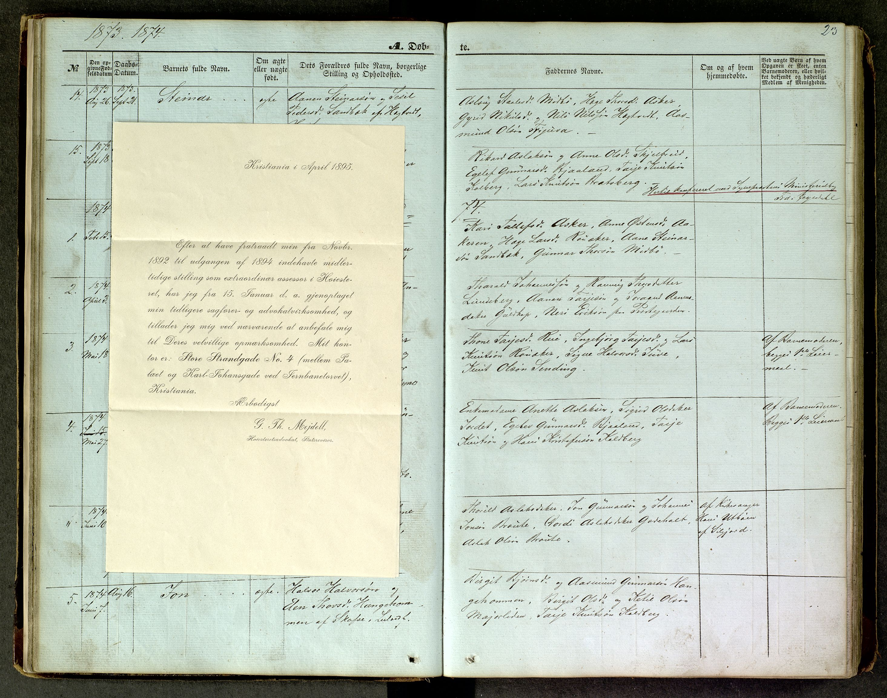 SAKO, Lårdal kirkebøker, G/Ga/L0002: Klokkerbok nr. I 2, 1861-1890, s. 23