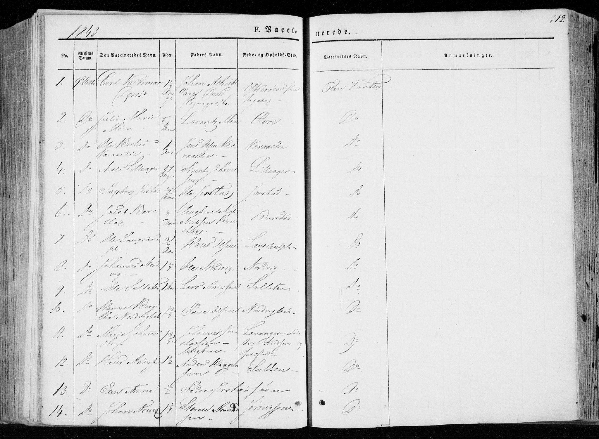 SAT, Ministerialprotokoller, klokkerbøker og fødselsregistre - Nord-Trøndelag, 722/L0218: Ministerialbok nr. 722A05, 1843-1868, s. 312