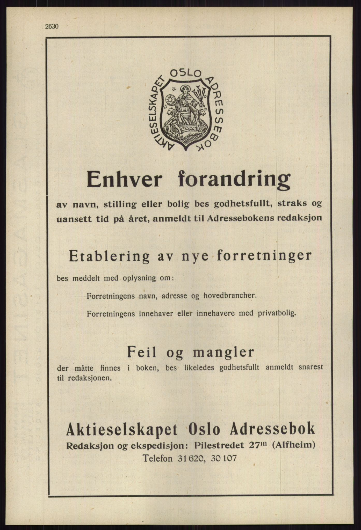 RA, Oslo adressebok (publikasjon)*, 1939, s. 2630