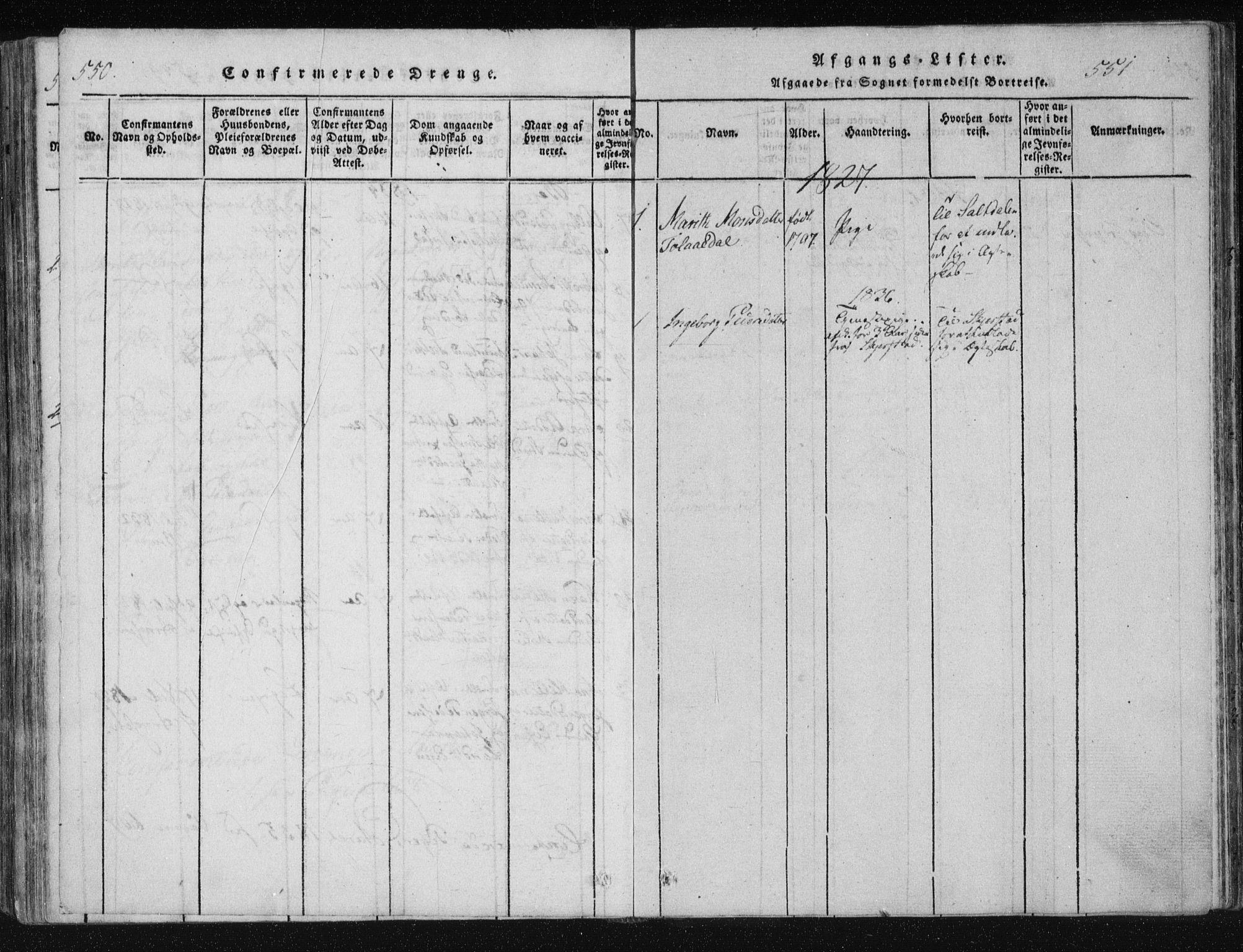 SAT, Ministerialprotokoller, klokkerbøker og fødselsregistre - Nordland, 805/L0096: Ministerialbok nr. 805A03, 1820-1837, s. 550-551