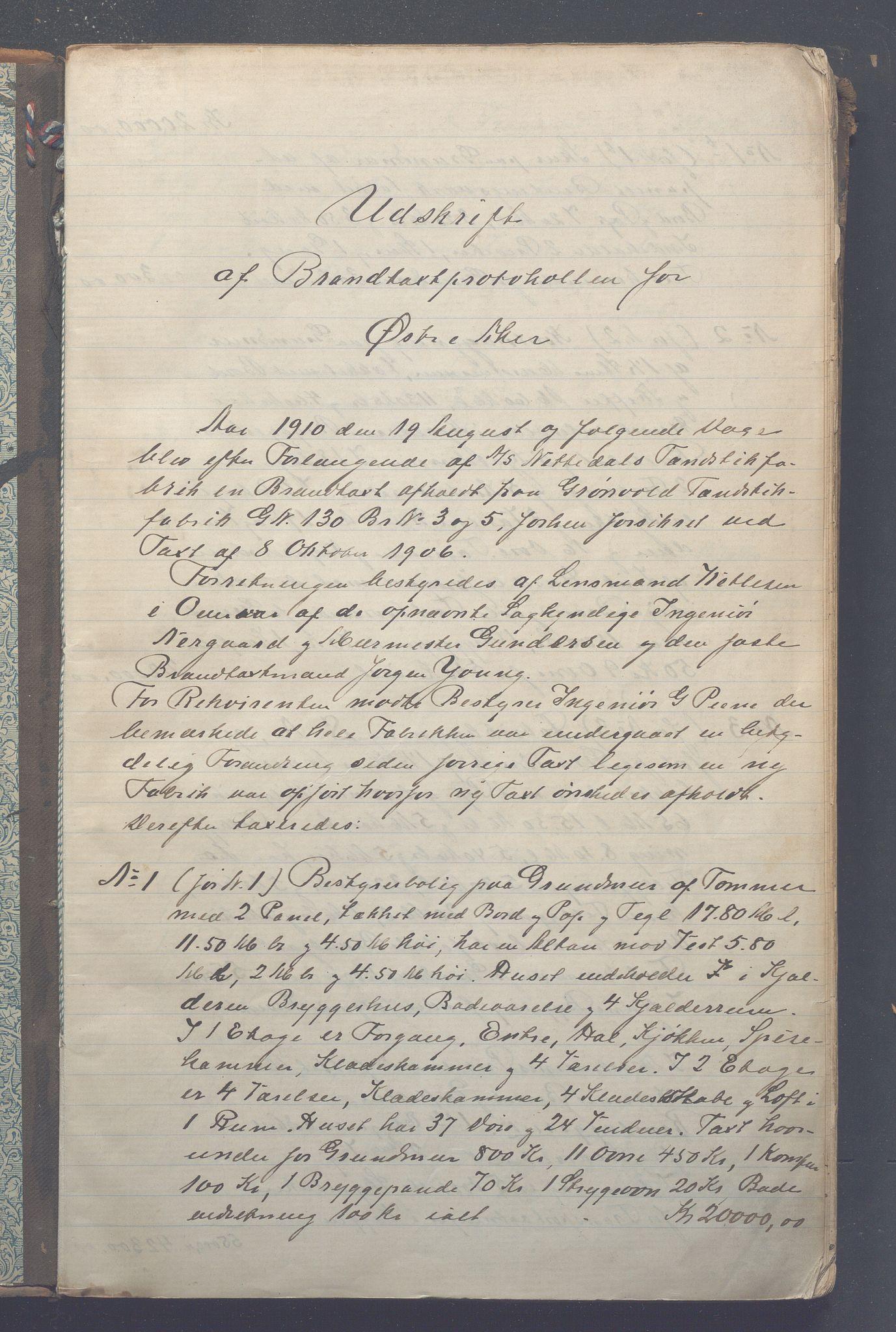 OBA, Lensmennene i Aker, F/Fc/L0008: Branntakstprotokoll, 1902-1911