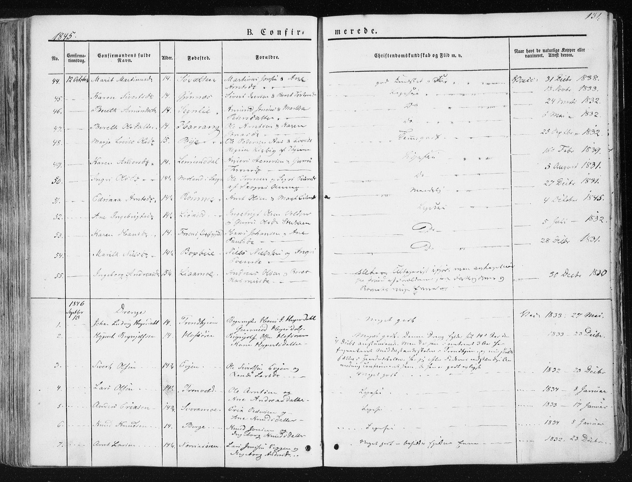 SAT, Ministerialprotokoller, klokkerbøker og fødselsregistre - Sør-Trøndelag, 668/L0805: Ministerialbok nr. 668A05, 1840-1853, s. 131