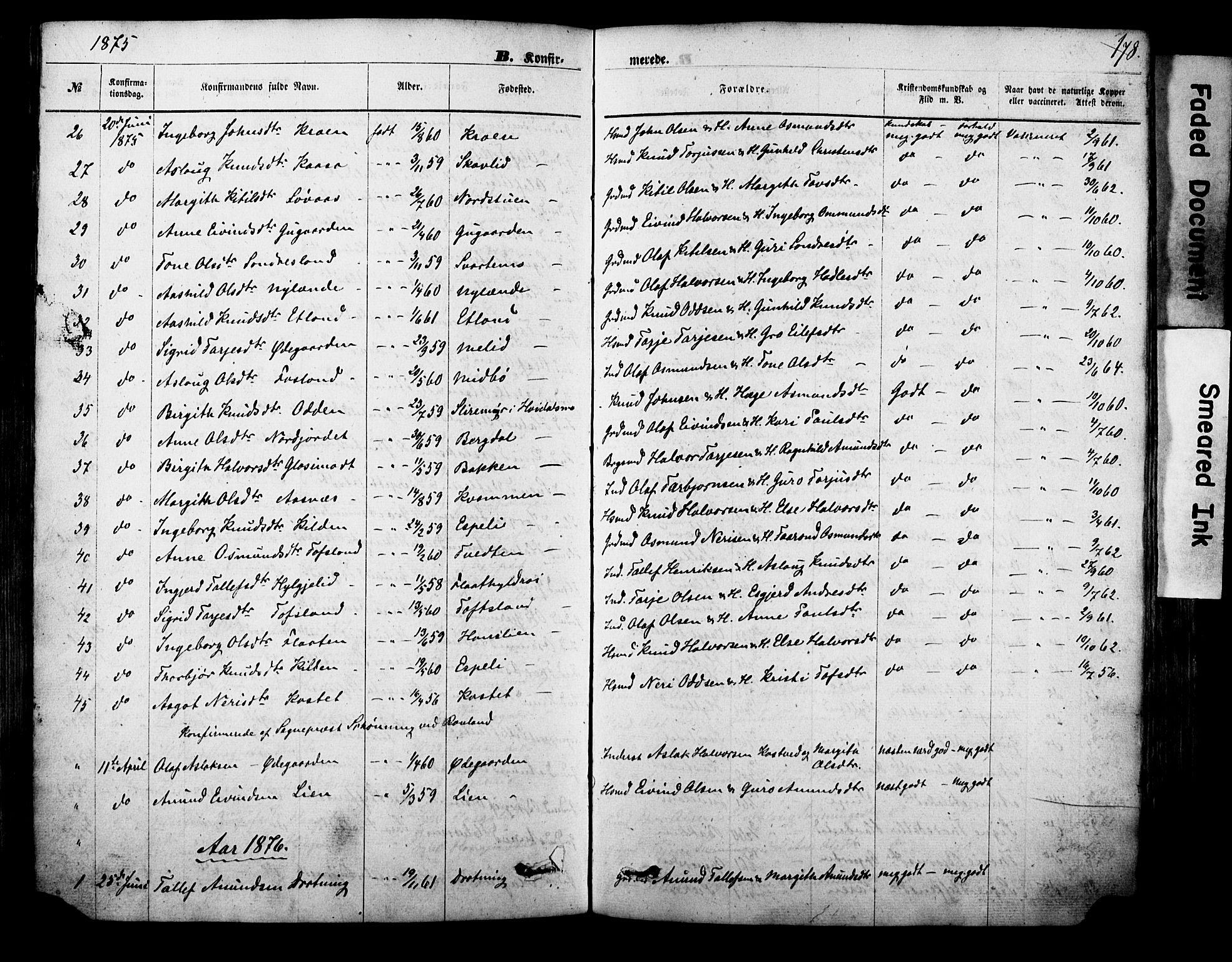 SAKO, Vinje kirkebøker, F/Fa/L0005: Ministerialbok nr. I 5, 1870-1886, s. 178