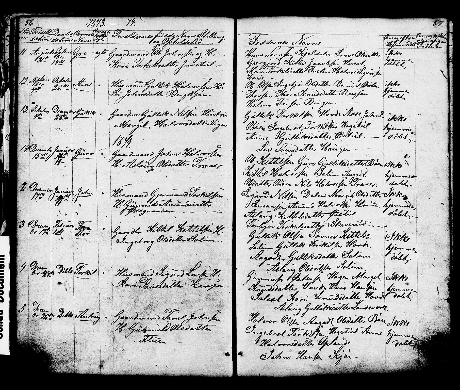 SAKO, Hjartdal kirkebøker, G/Gc/L0002: Klokkerbok nr. III 2, 1854-1890, s. 56-57
