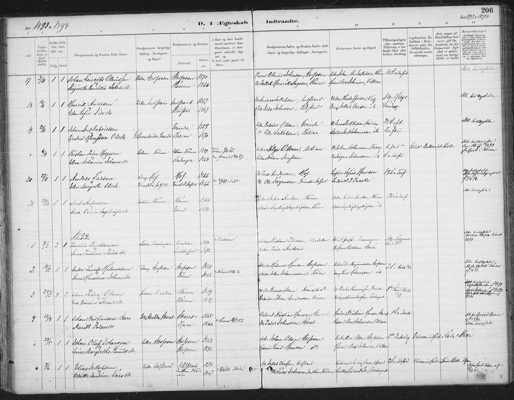 SAT, Ministerialprotokoller, klokkerbøker og fødselsregistre - Sør-Trøndelag, 659/L0743: Ministerialbok nr. 659A13, 1893-1910, s. 206