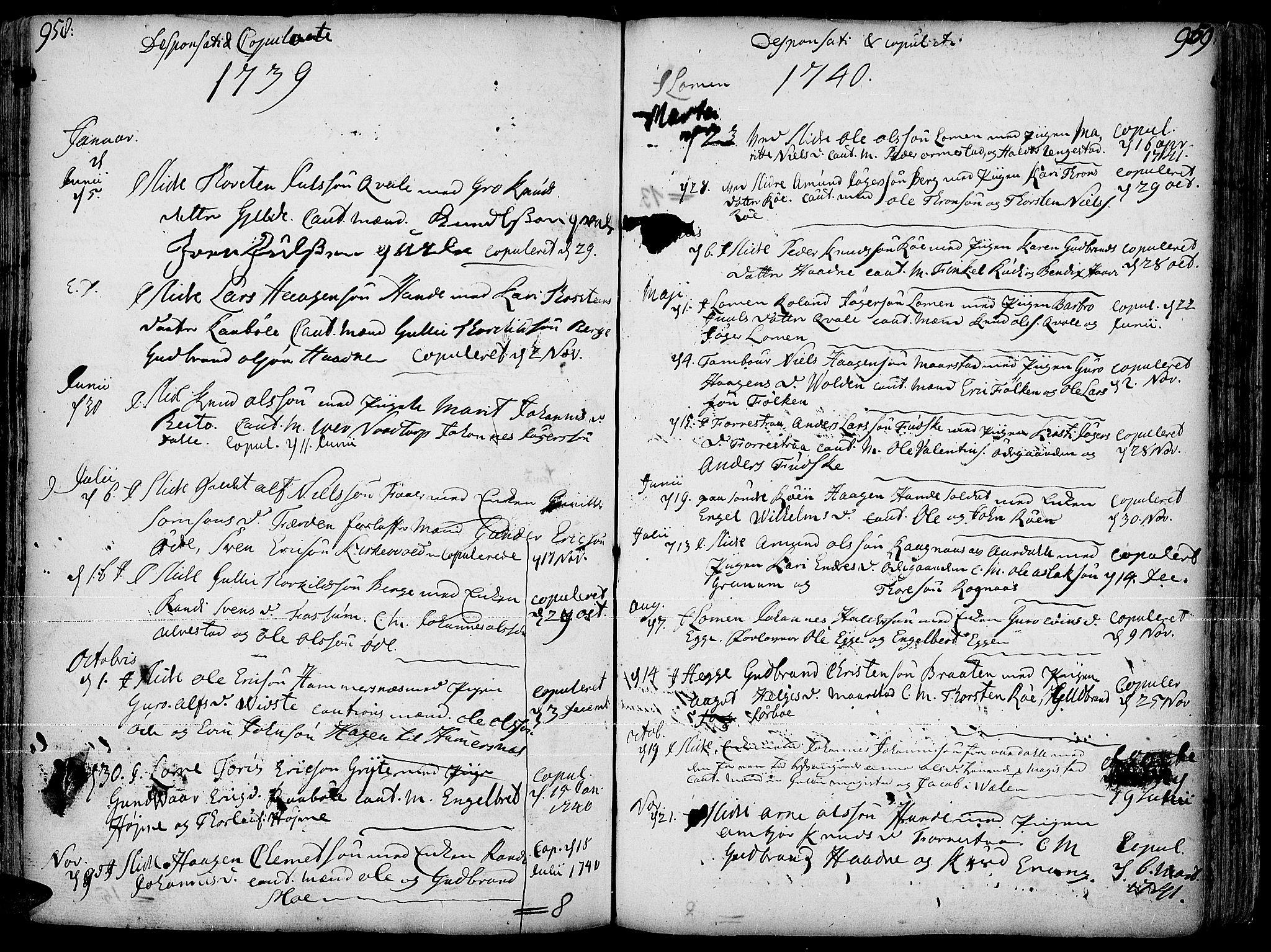 SAH, Slidre prestekontor, Ministerialbok nr. 1, 1724-1814, s. 958-959