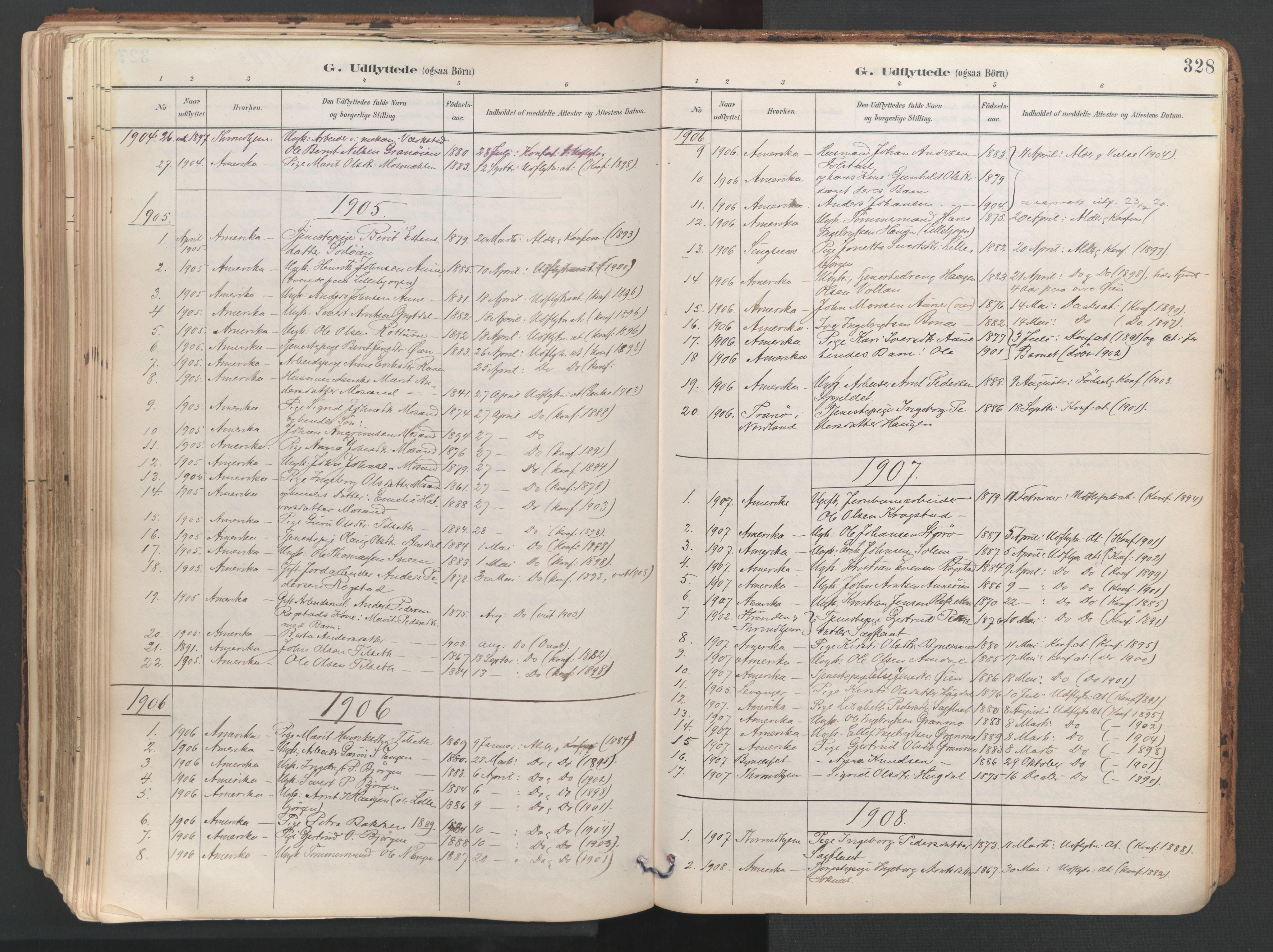 SAT, Ministerialprotokoller, klokkerbøker og fødselsregistre - Sør-Trøndelag, 687/L1004: Ministerialbok nr. 687A10, 1891-1923, s. 328