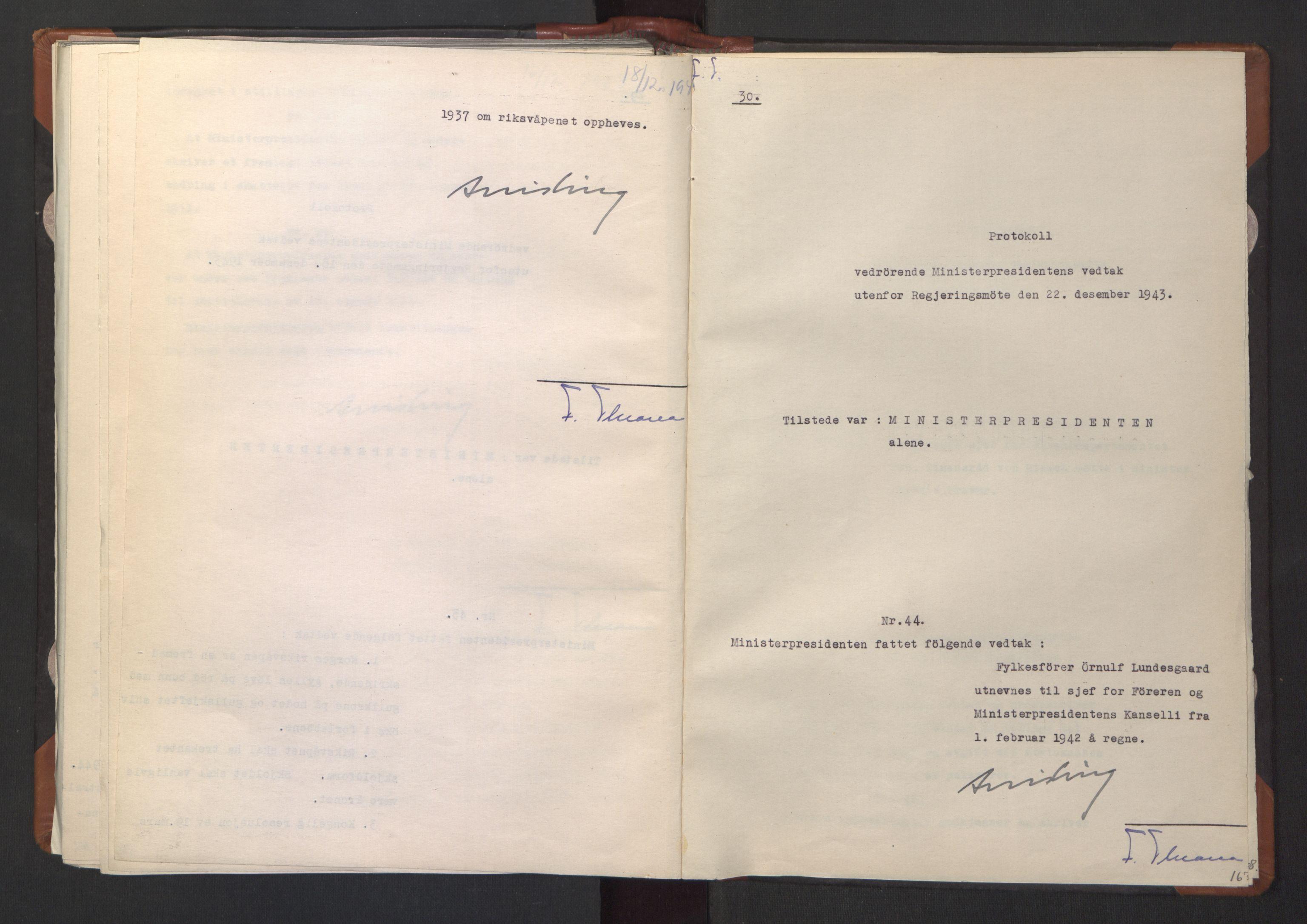 RA, NS-administrasjonen 1940-1945 (Statsrådsekretariatet, de kommisariske statsråder mm), D/Da/L0003: Vedtak (Beslutninger) nr. 1-746 og tillegg nr. 1-47 (RA. j.nr. 1394/1944, tilgangsnr. 8/1944, 1943, s. 166b-167a