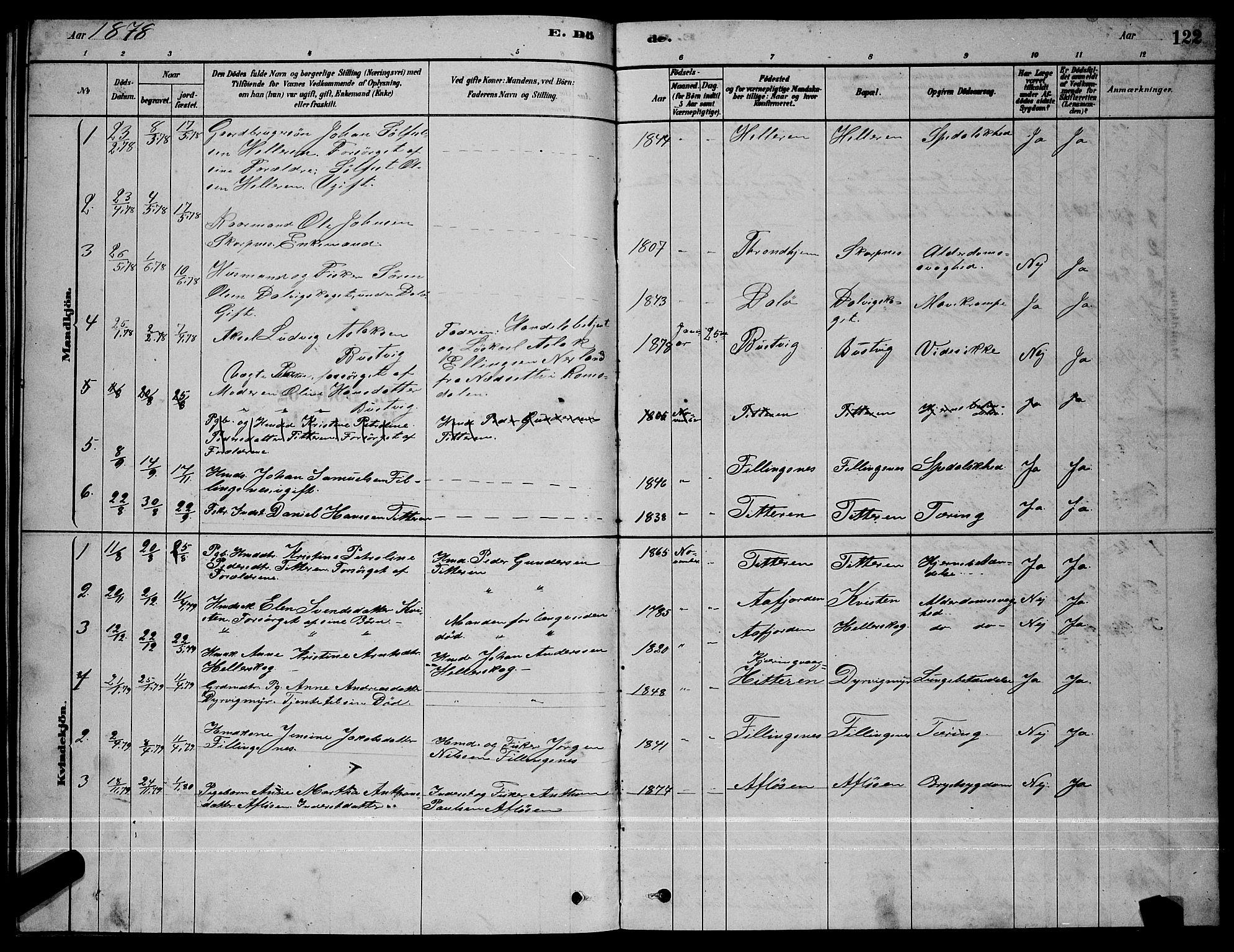 SAT, Ministerialprotokoller, klokkerbøker og fødselsregistre - Sør-Trøndelag, 641/L0597: Klokkerbok nr. 641C01, 1878-1893, s. 122