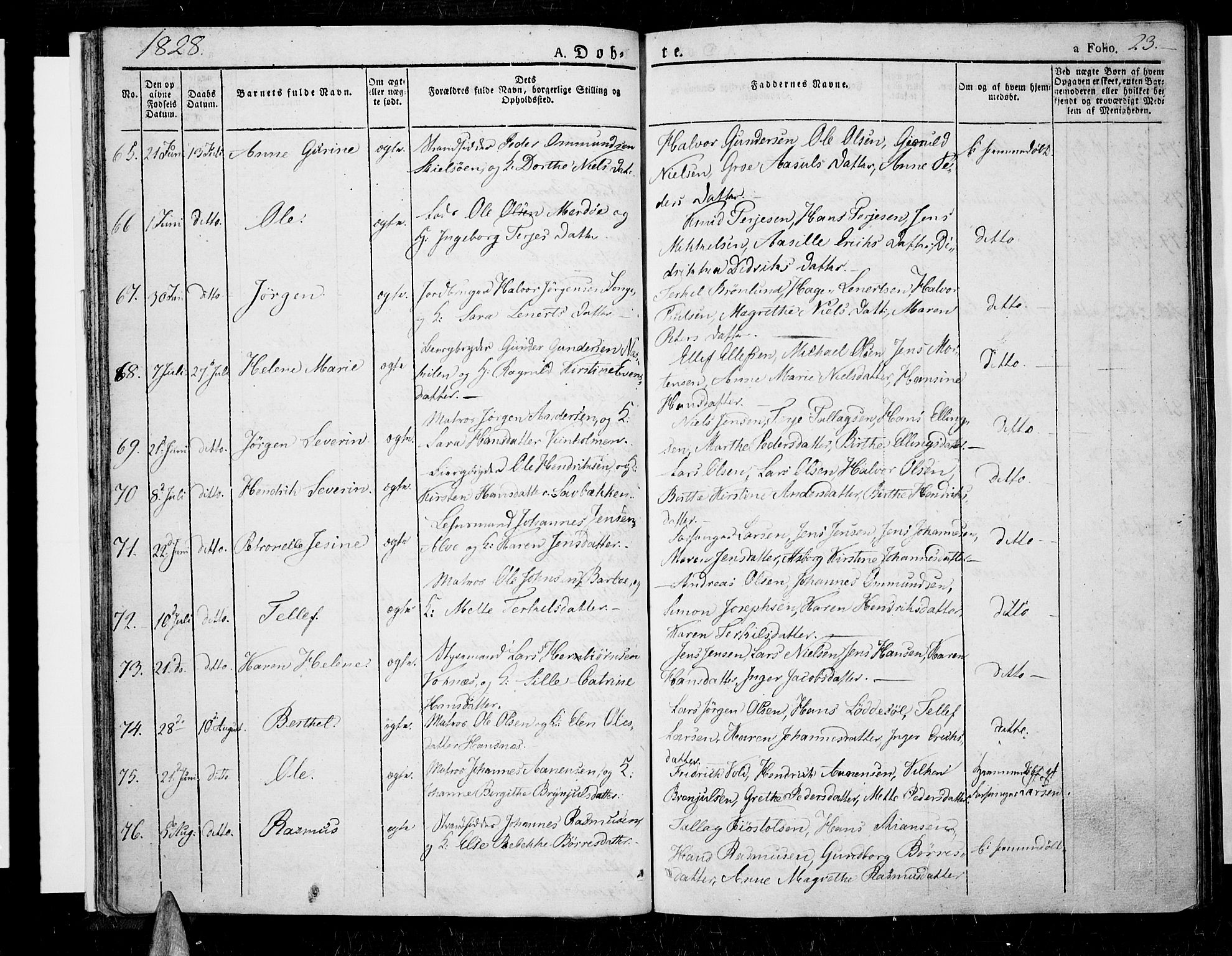 SAK, Tromøy sokneprestkontor, F/Fa/L0003: Ministerialbok nr. A 3, 1825-1837, s. 23
