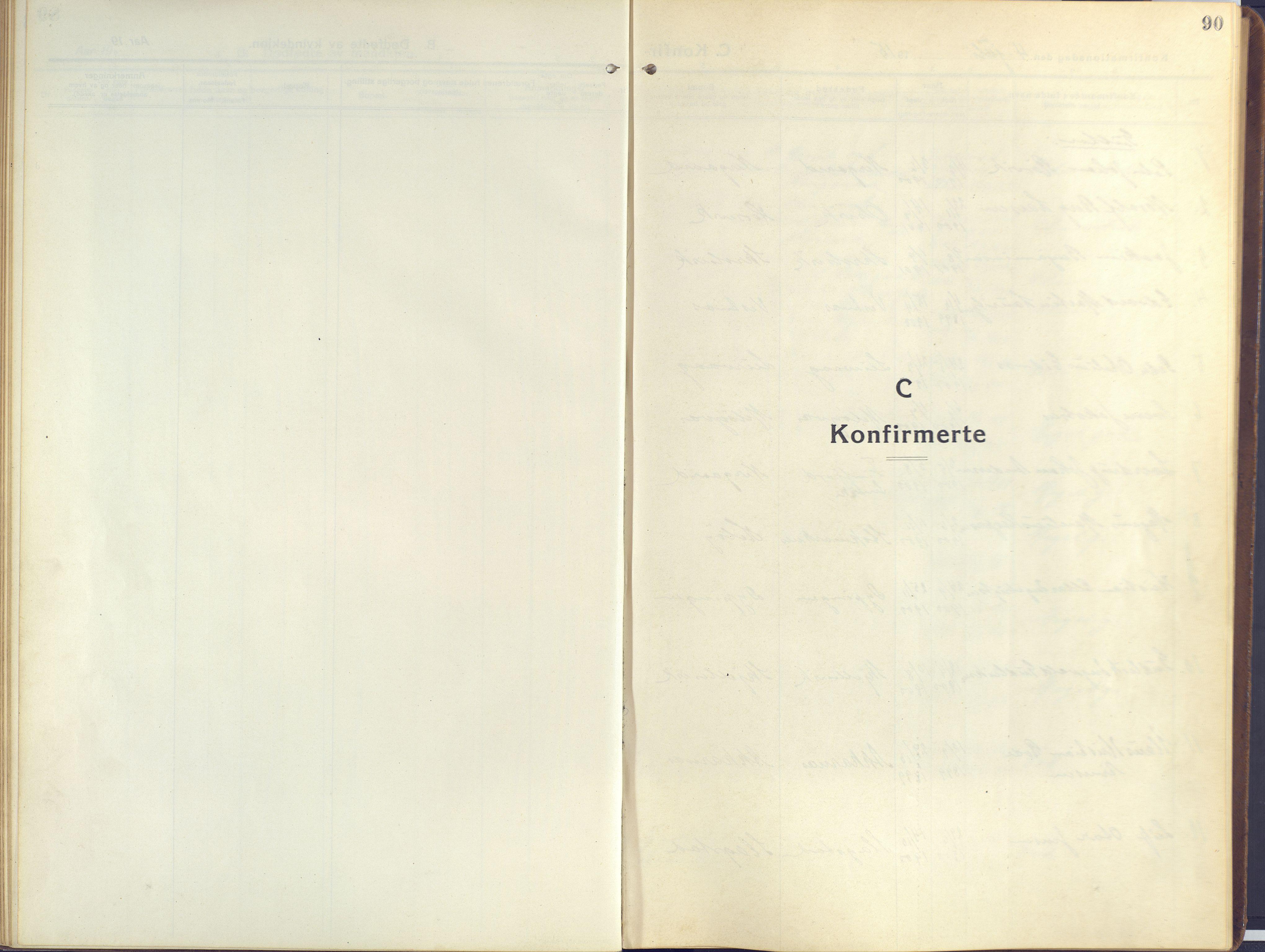 SATØ, Sand/Bjarkøy sokneprestkontor, I/Ia/Iaa/L0006kirke: Ministerialbok nr. 6, 1915-1929, s. 90