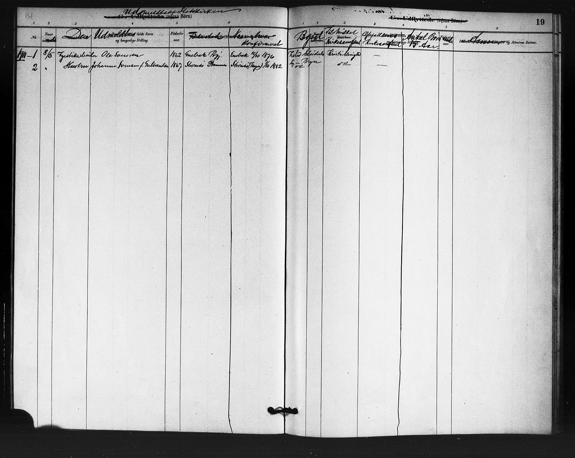 SAO, Østre Aker prestekontor Kirkebøker, F/Fa/L0007: Ministerialbok nr. I 7, 1879-1912, s. 19