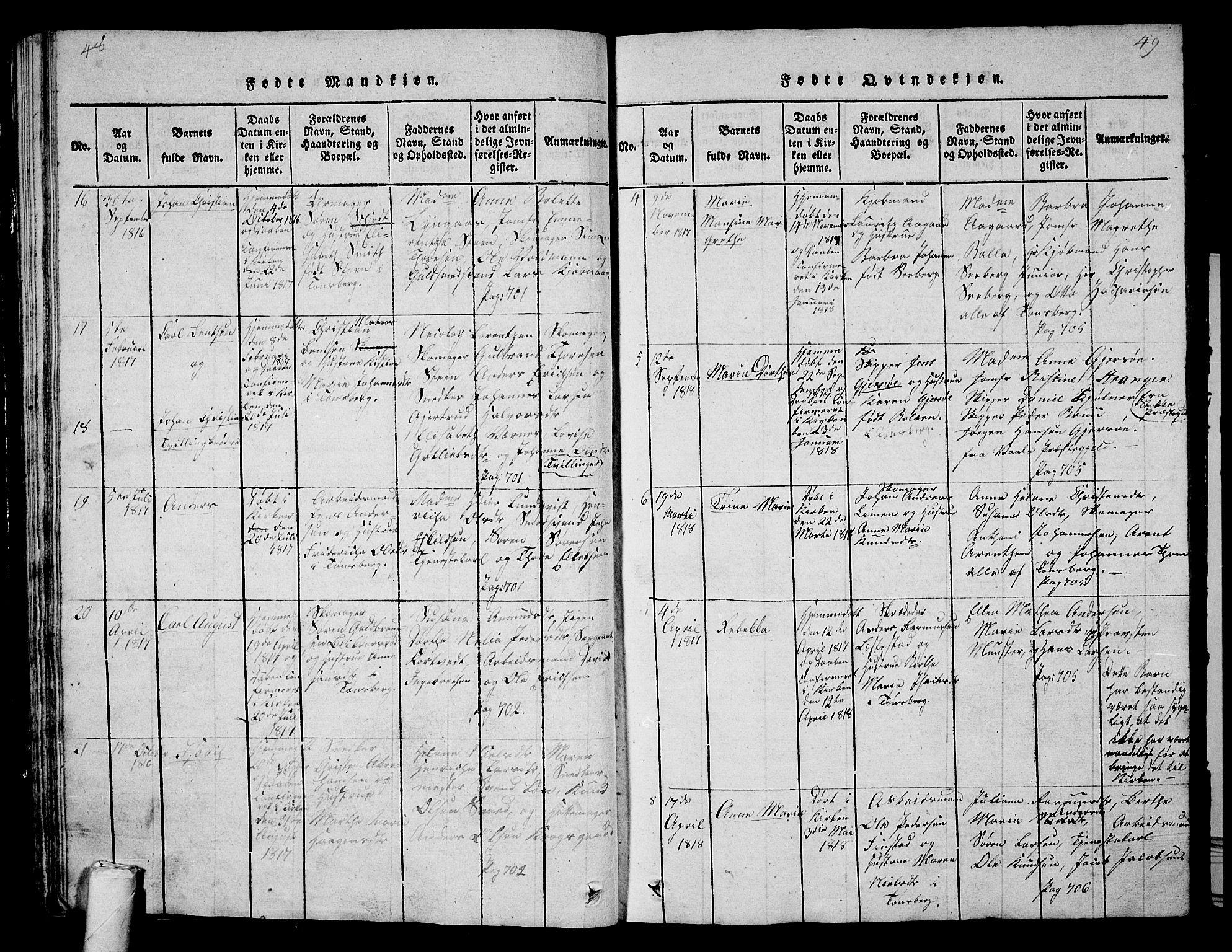 SAKO, Tønsberg kirkebøker, G/Ga/L0001: Klokkerbok nr. 1, 1813-1826, s. 48-49