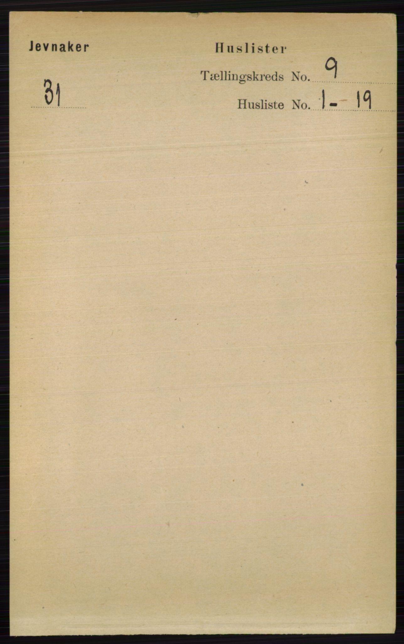 RA, Folketelling 1891 for 0532 Jevnaker herred, 1891, s. 4879